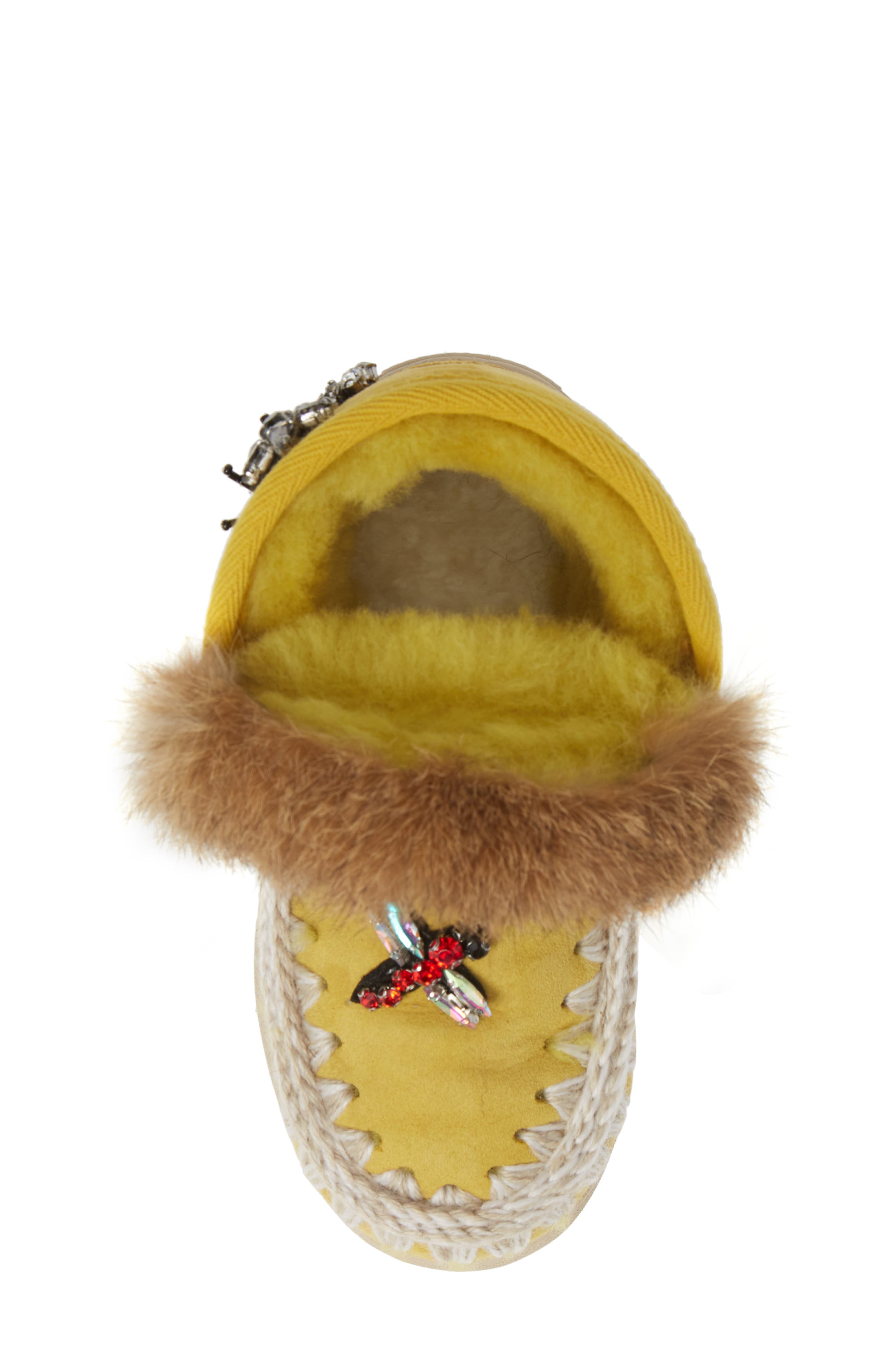 Embellished Genuine Shearling Sneaker Boot,                             Alternate thumbnail 5, color,                             OLIVE YELLOW