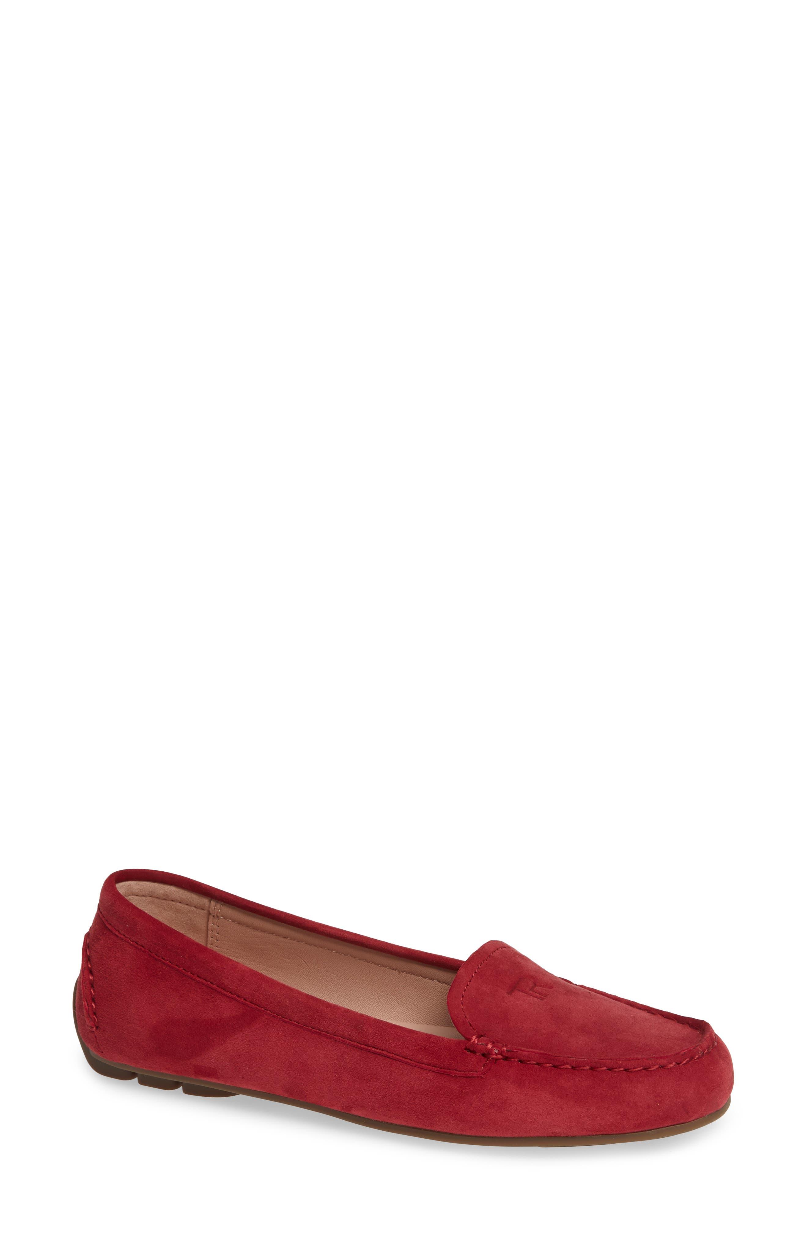 Taryn Rose Karen Water Resistant Driving Loafer, Red