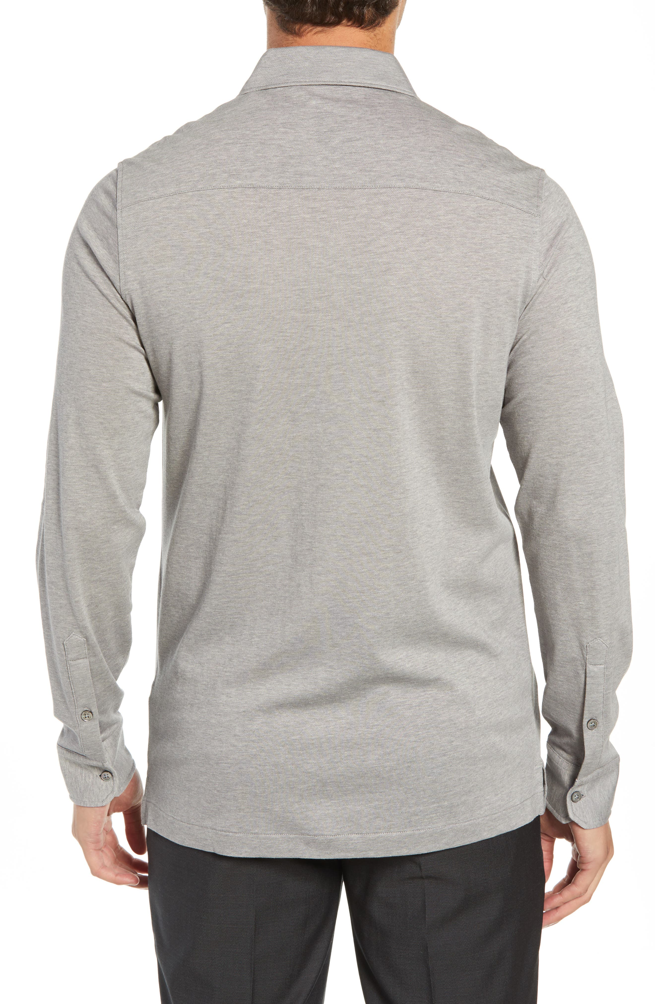 Shaped Fit Contrast Cuff Sport Shirt,                             Alternate thumbnail 3, color,                             GRAPHITE