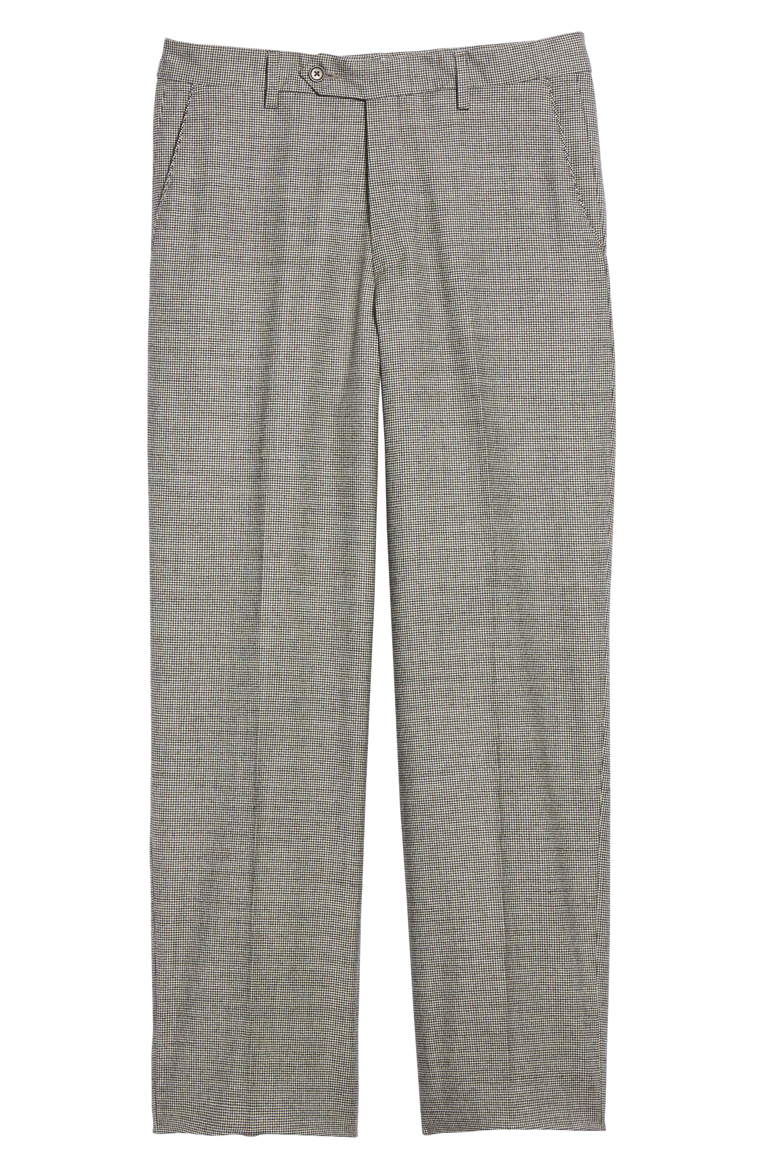 Flat Front Stretch Plaid Houndstooth Trousers,                             Alternate thumbnail 6, color,                             BLACK/ WHITE
