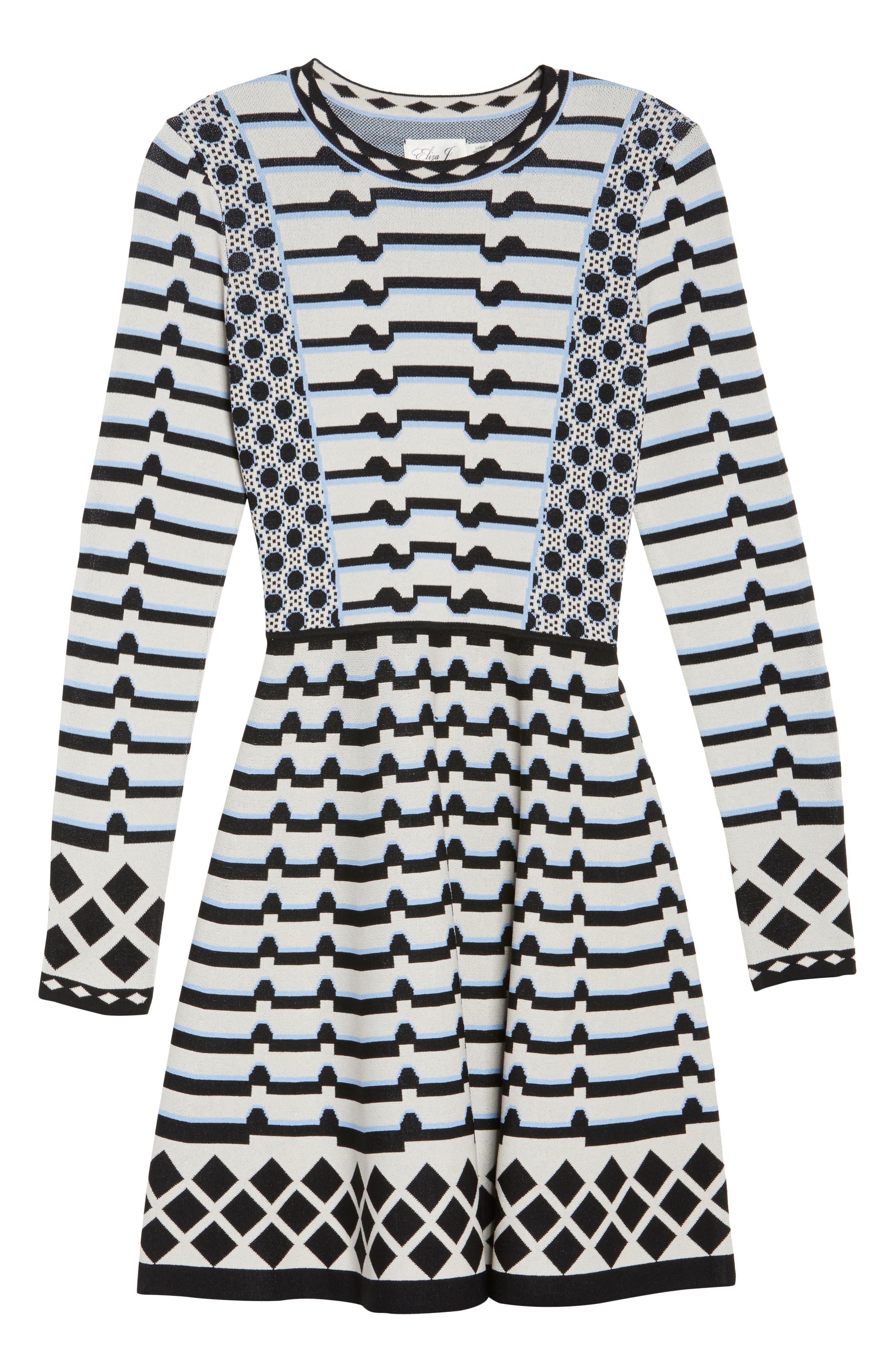 Stripe Knit Fit & Flare Dress,                             Alternate thumbnail 6, color,                             302