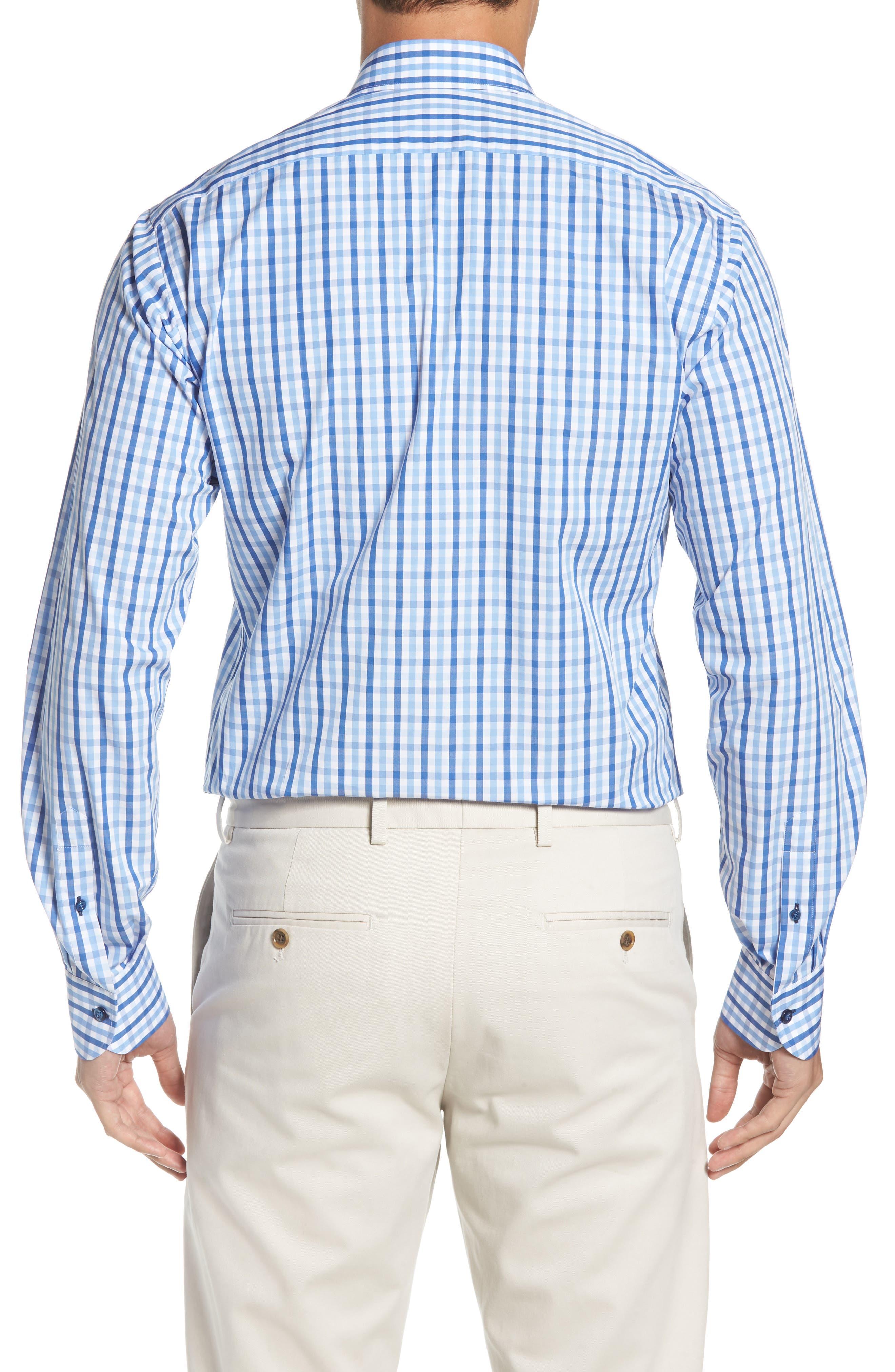 Regular Fit Check Dress Shirt,                             Alternate thumbnail 3, color,                             BLUE
