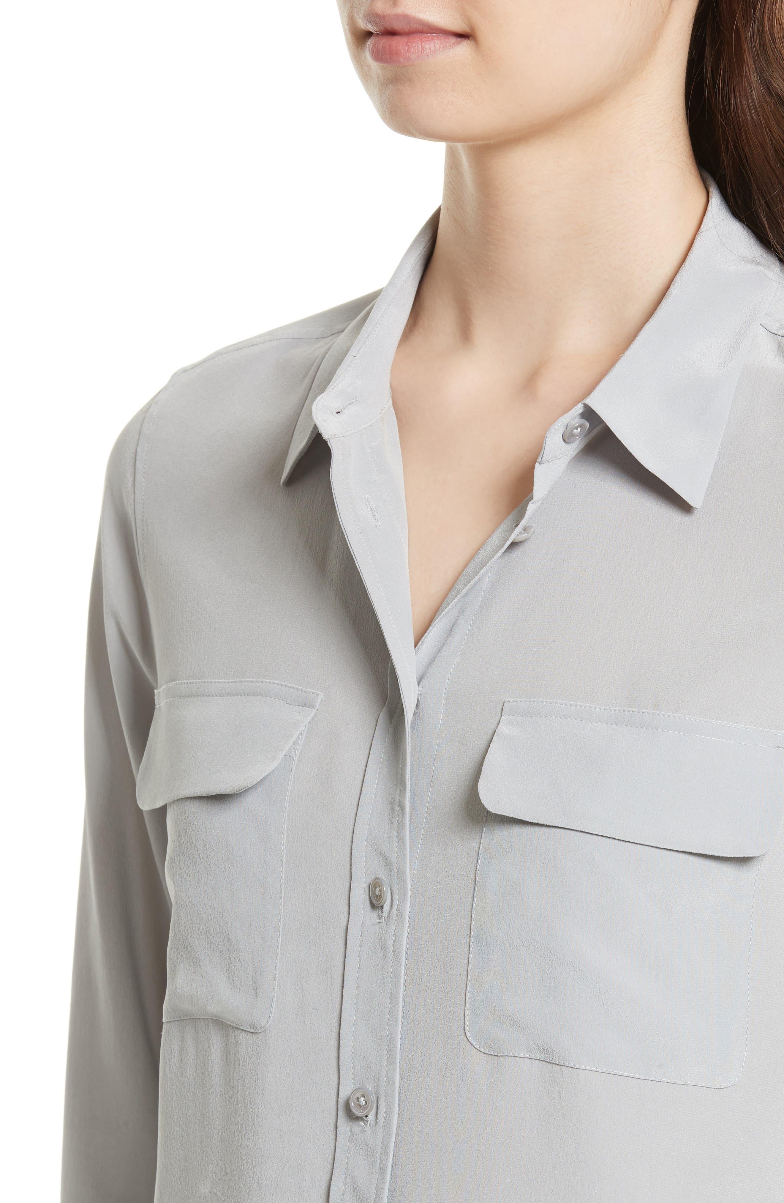 'Slim Signature' Silk Shirt,                             Alternate thumbnail 4, color,                             056