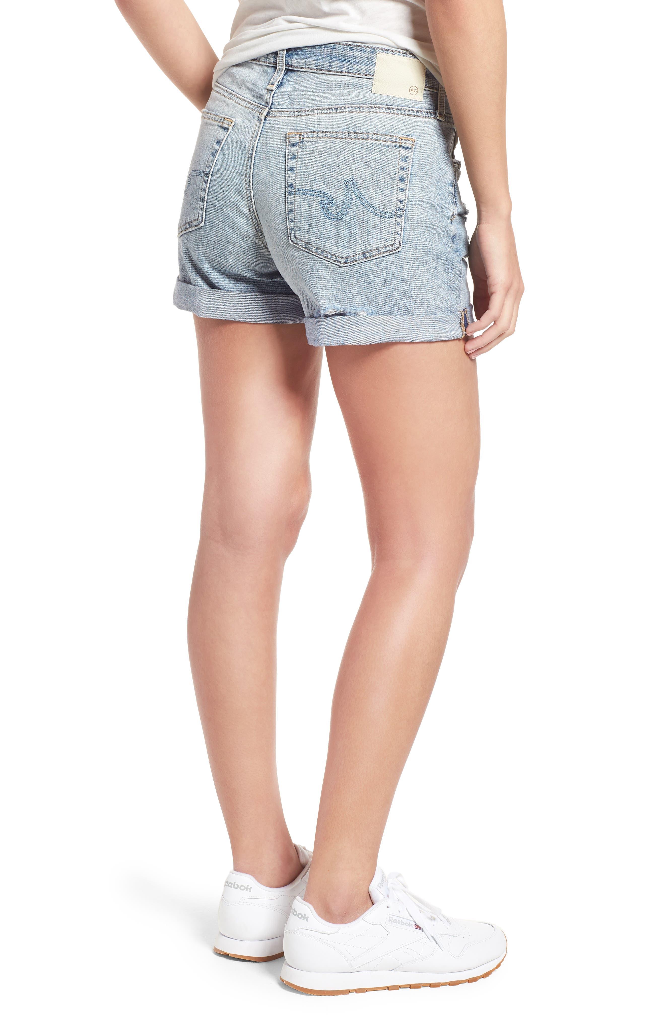 Hailey High Waist Cuff Denim Shorts,                             Alternate thumbnail 2, color,                             21 YRS-REFLECTION DESTRUCTED
