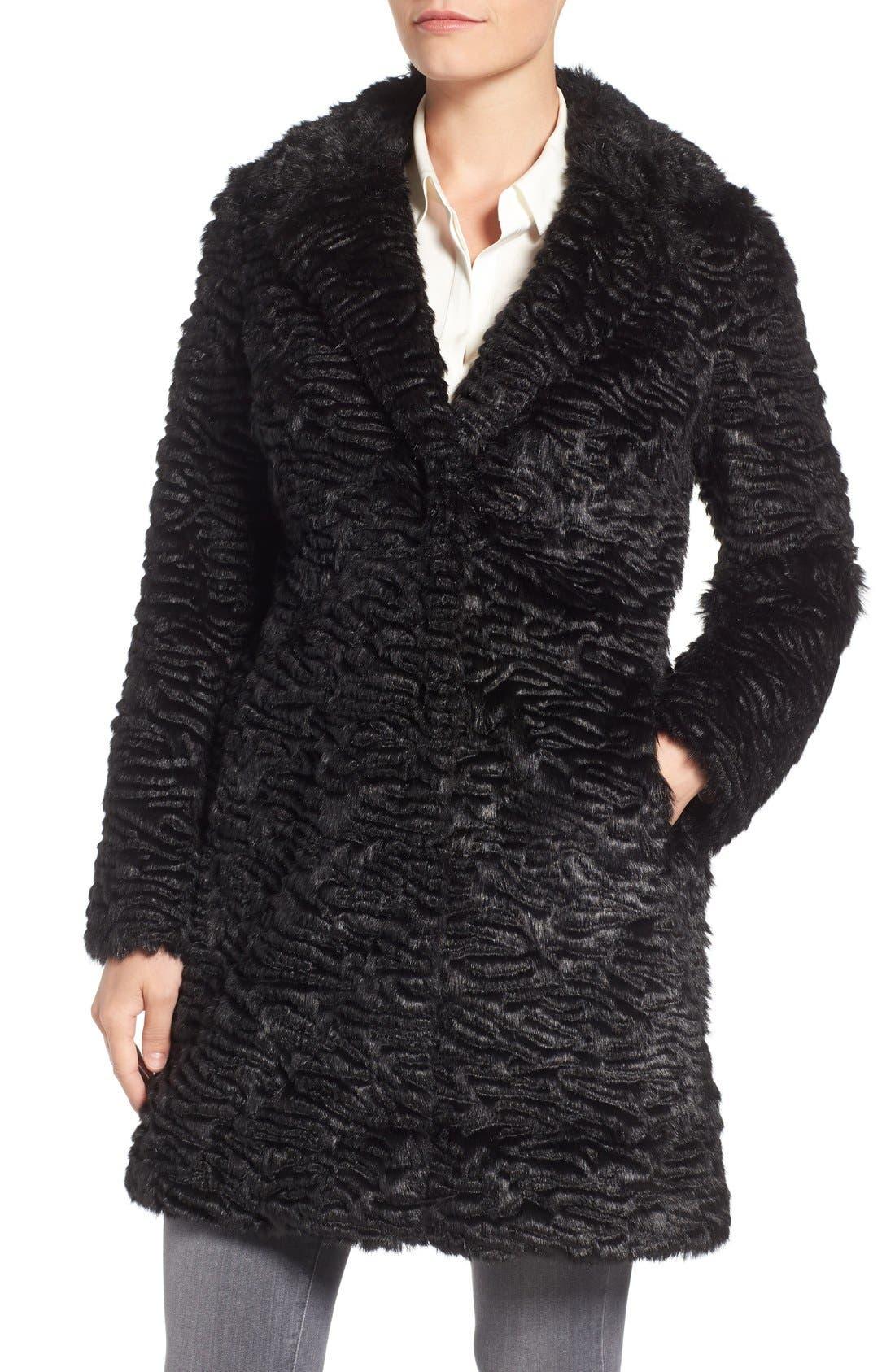 Faux Persian Lamb Coat,                             Alternate thumbnail 4, color,                             001
