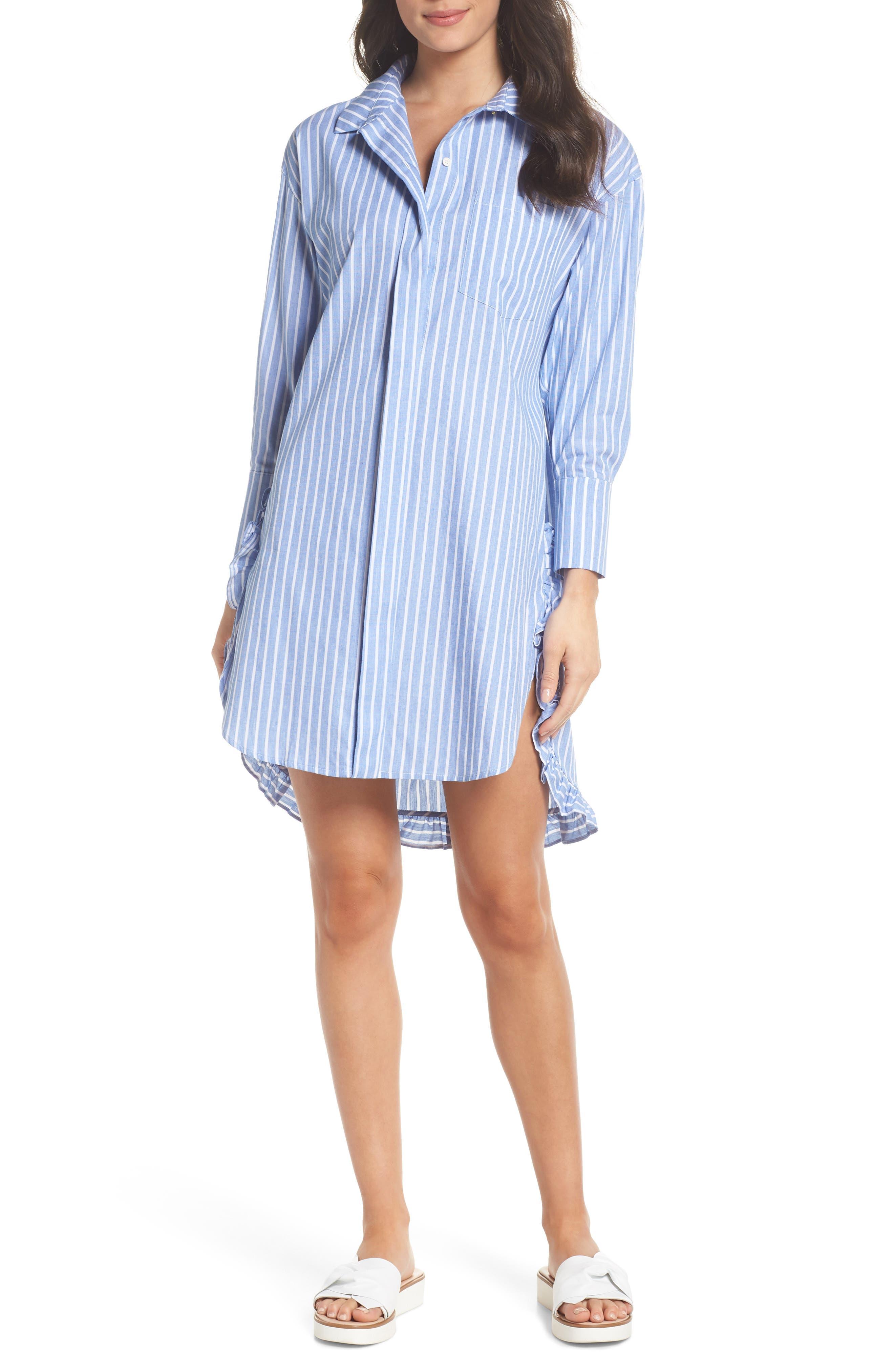 Stripe Shirtdress,                         Main,                         color, 465