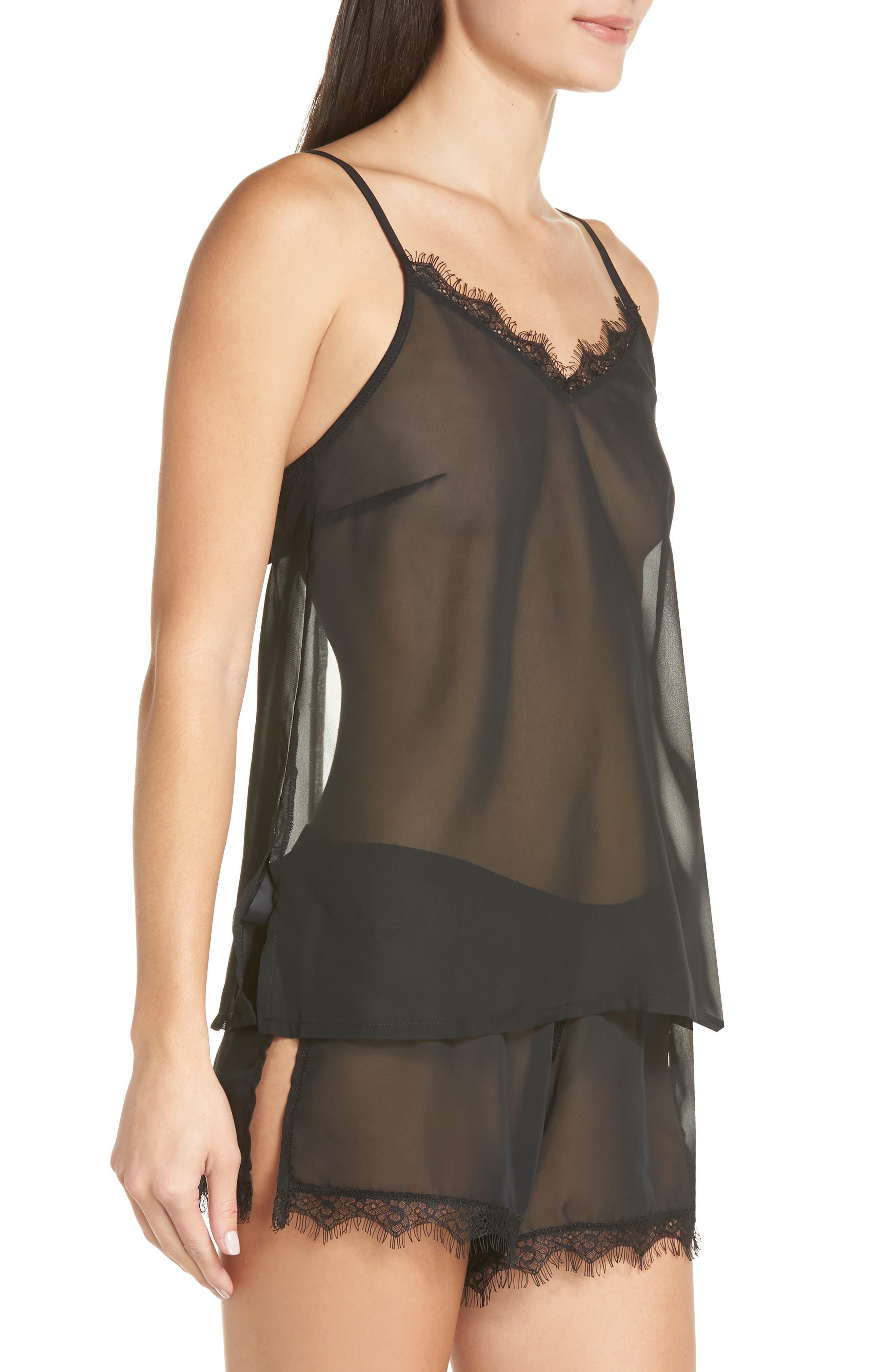 Copper Sheer Short Pajamas,                             Alternate thumbnail 3, color,                             BLACK
