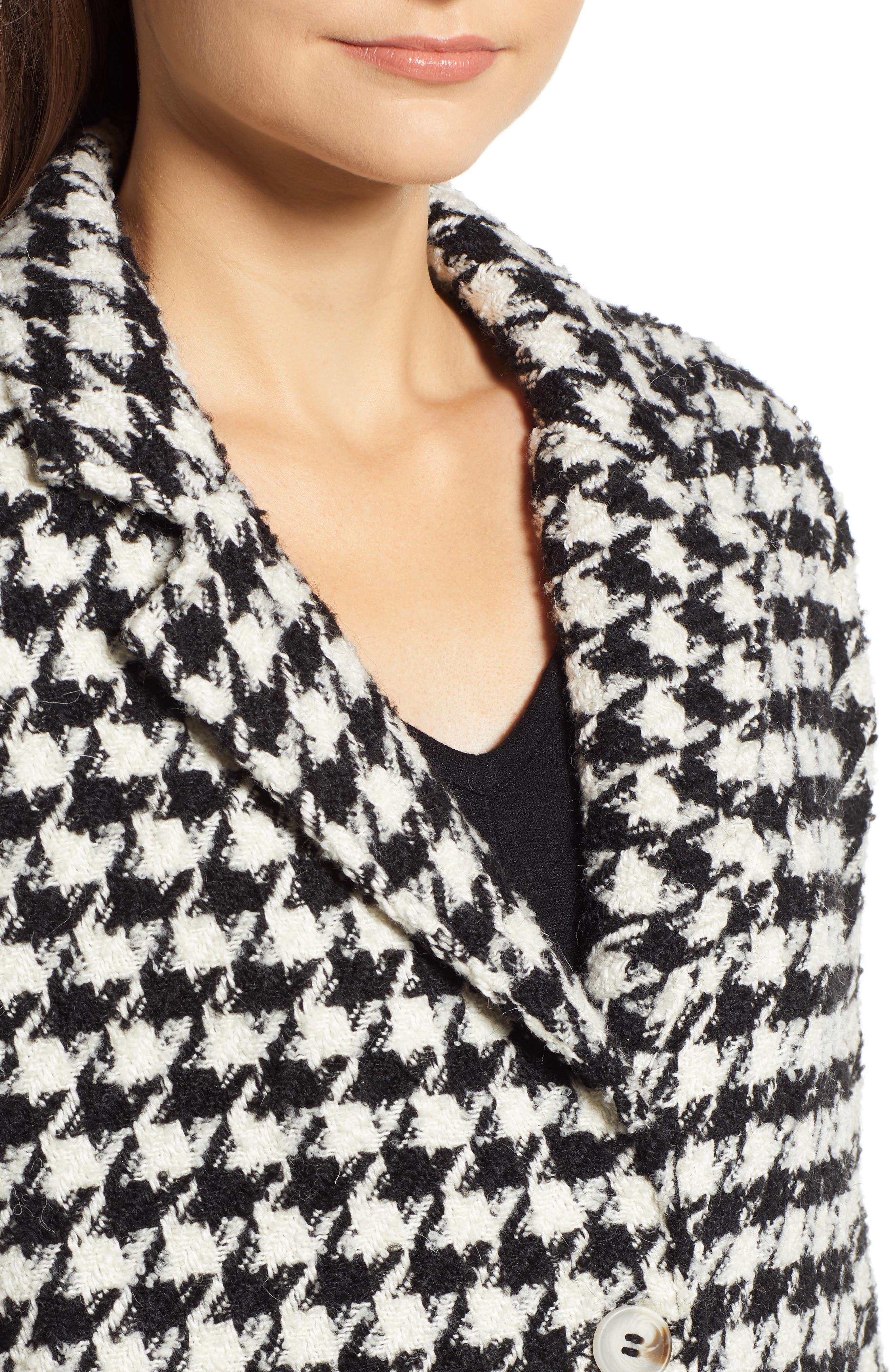 Houndstooth Coat,                             Alternate thumbnail 4, color,                             001