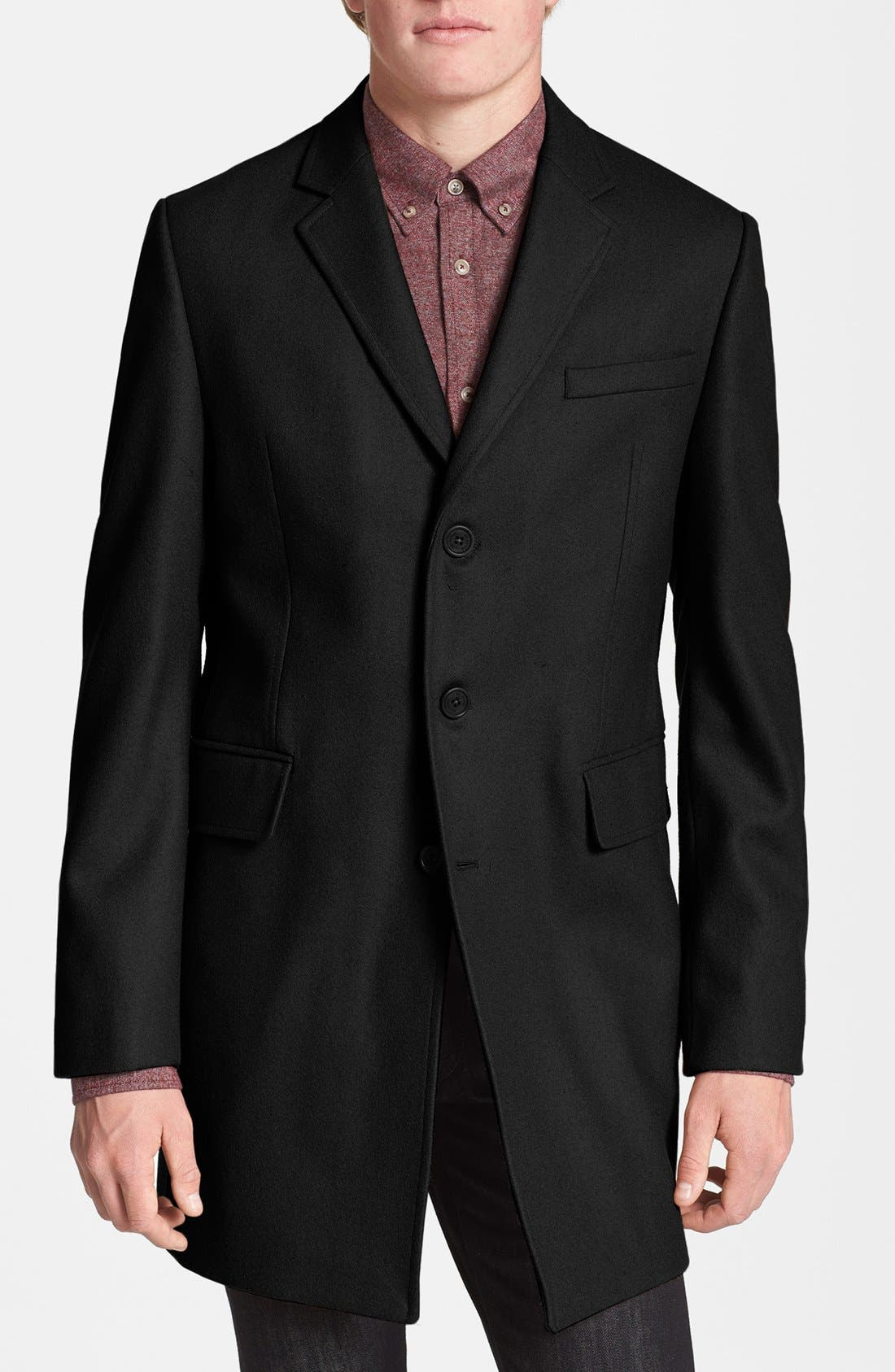 Melton Wool Blend Coat,                             Main thumbnail 1, color,                             006