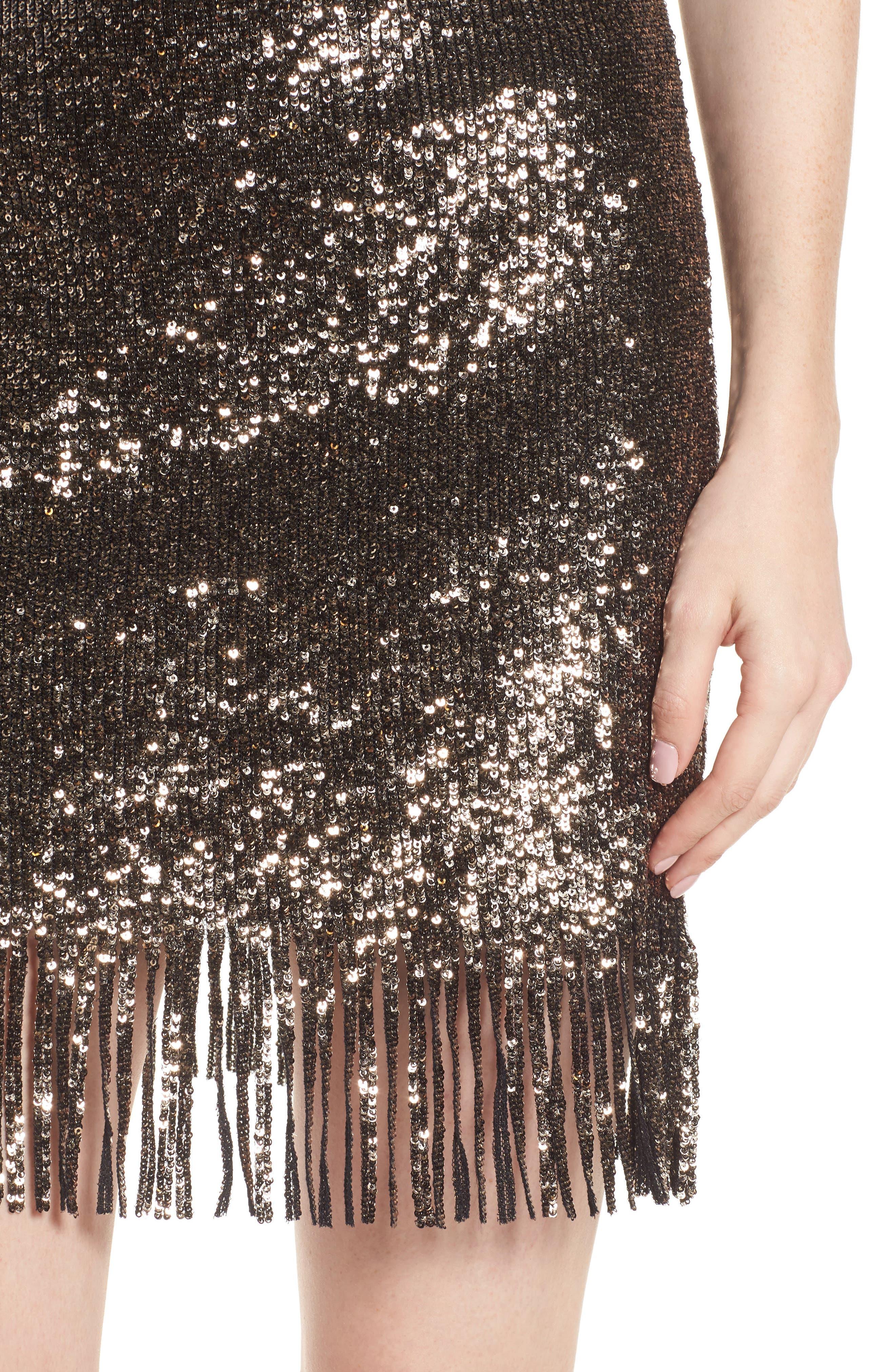 BARDOT,                             Sequin Fringe Skirt,                             Alternate thumbnail 4, color,                             710