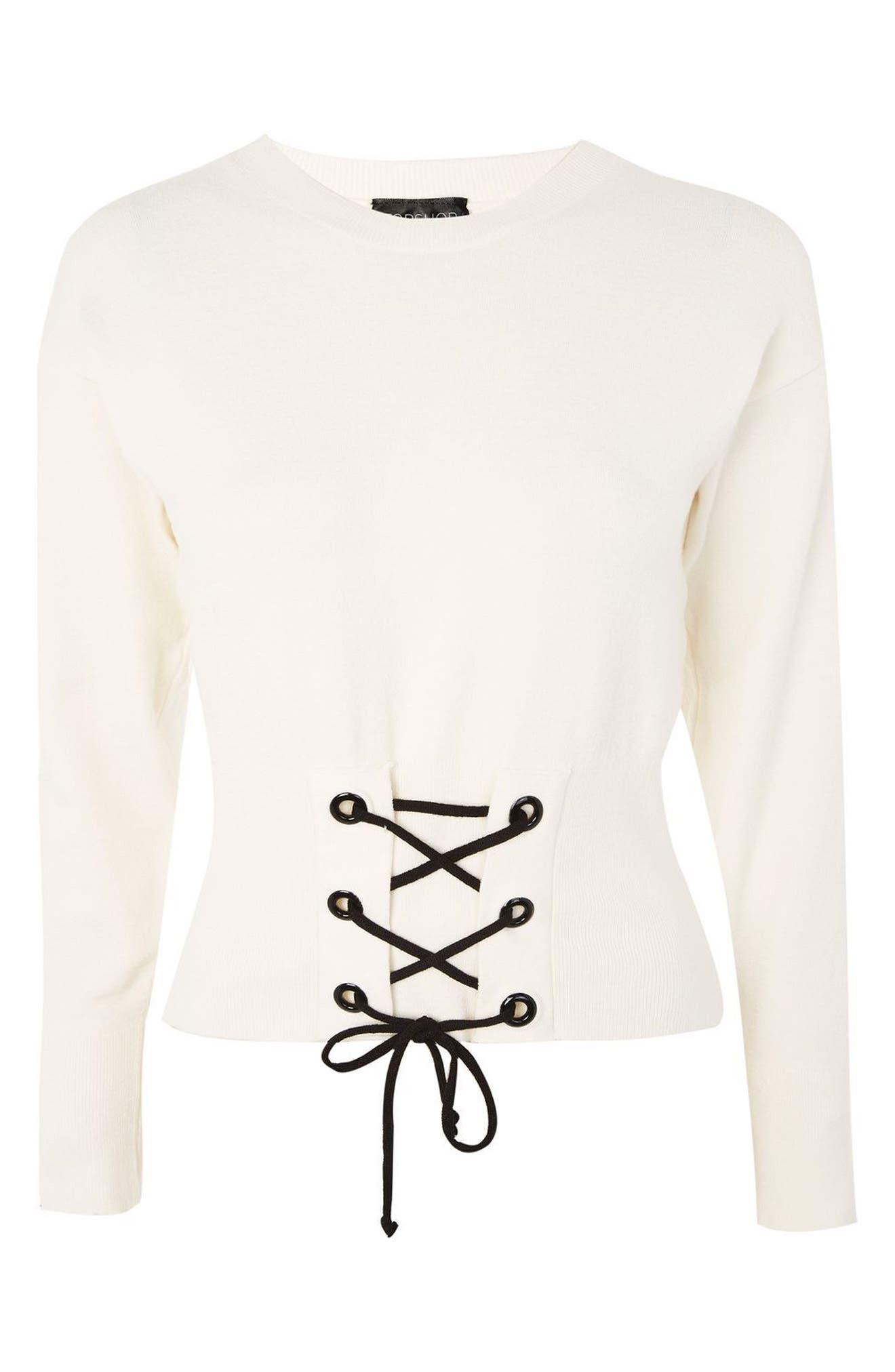 Corset Front Sweater,                             Alternate thumbnail 3, color,                             900