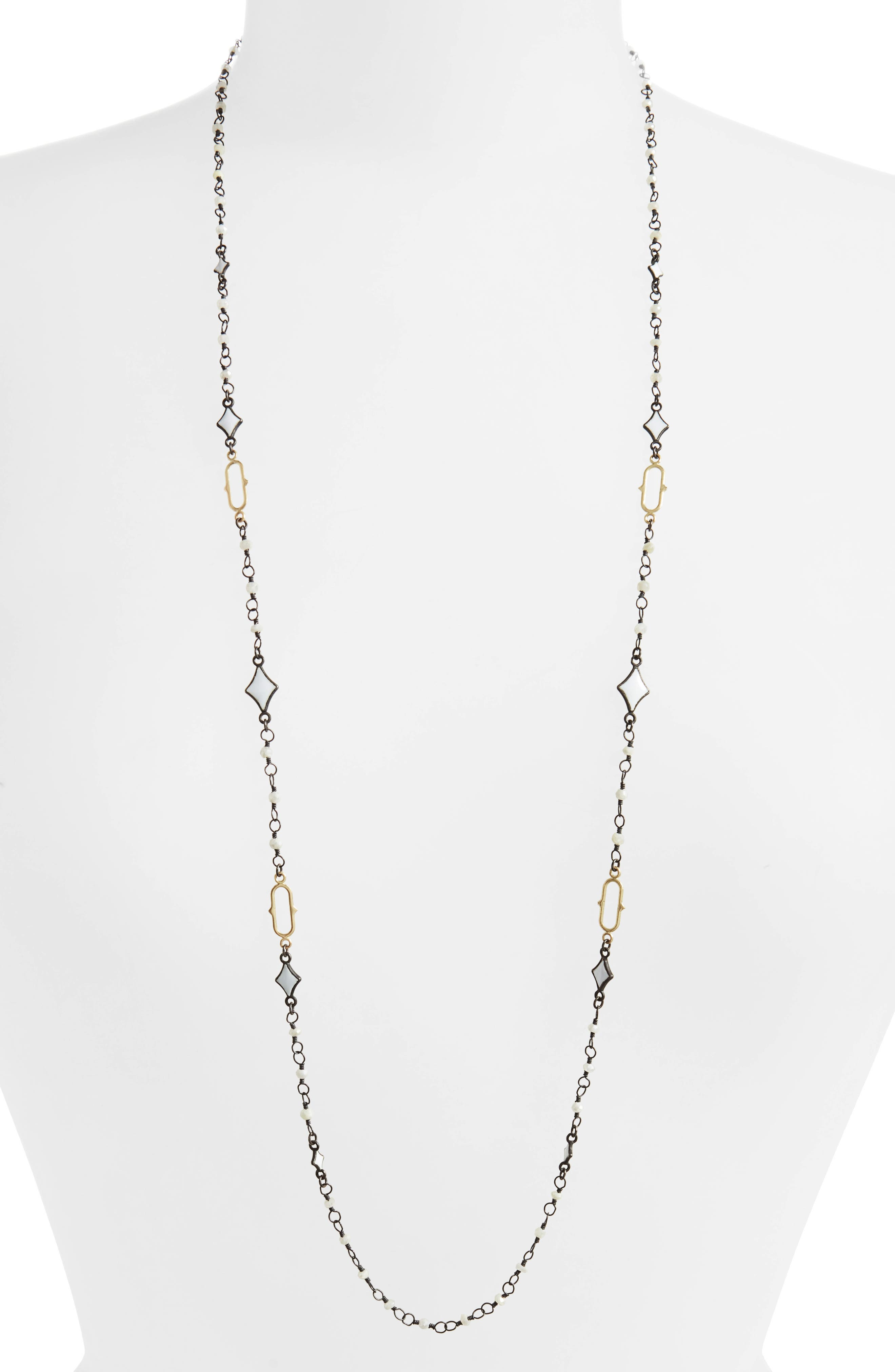Old World Enamel Chain Necklace,                         Main,                         color, BLACKENED SILVER