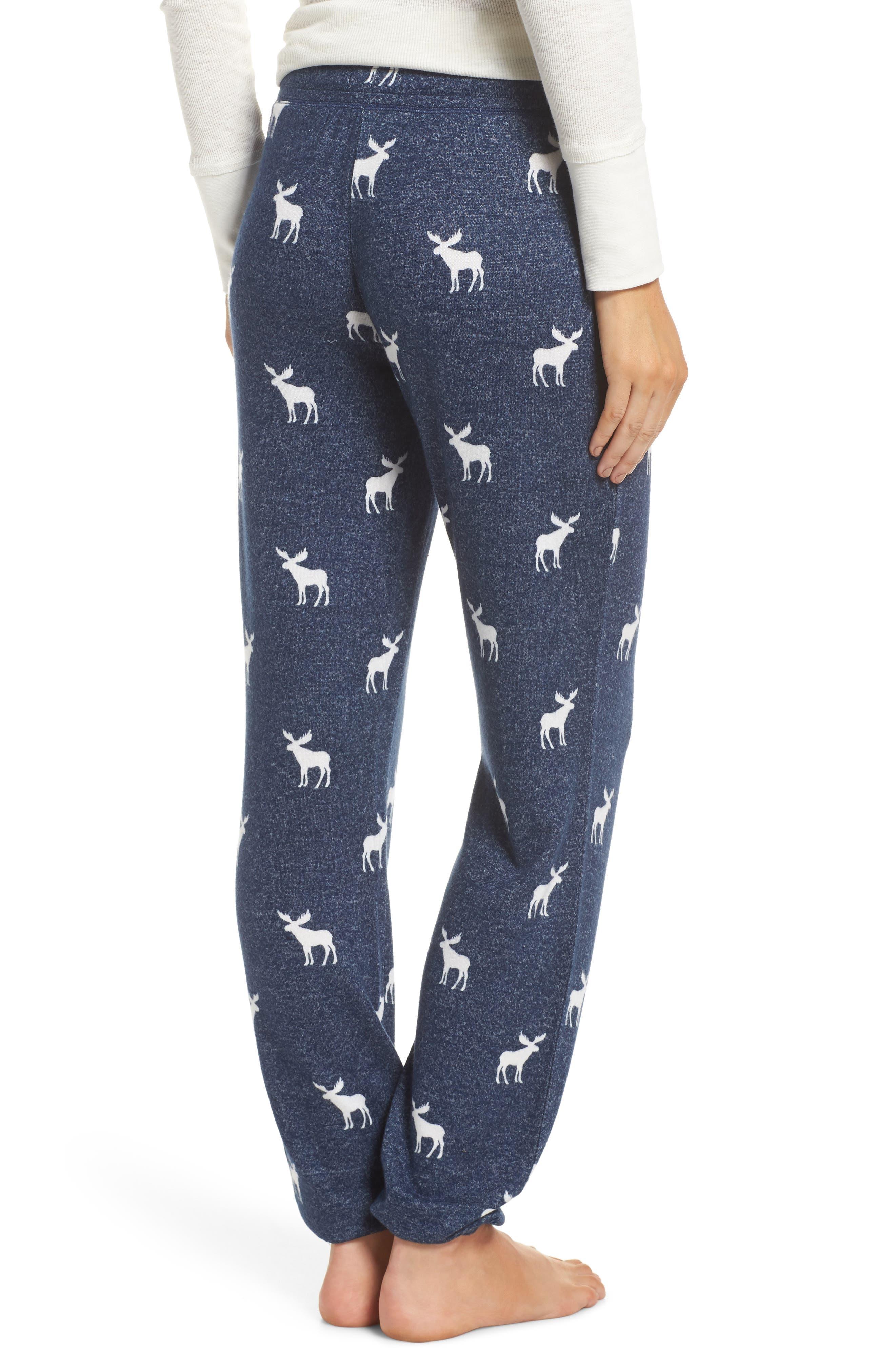 Moose Print Banded Pajama Pants,                             Alternate thumbnail 2, color,                             410