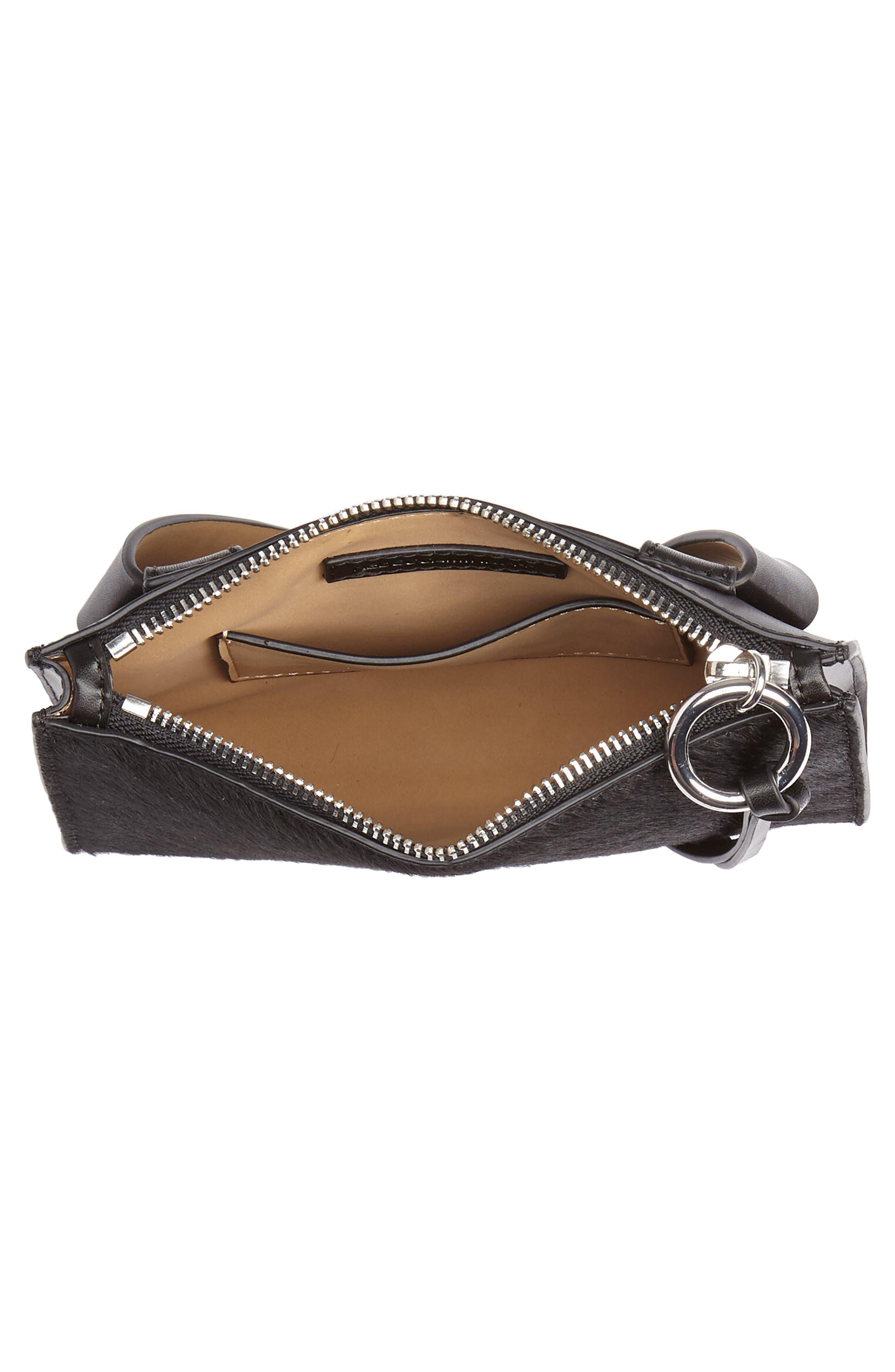 Ava Genuine Calf Hair Belt Bag,                             Alternate thumbnail 5, color,                             BLACK/ BLACK