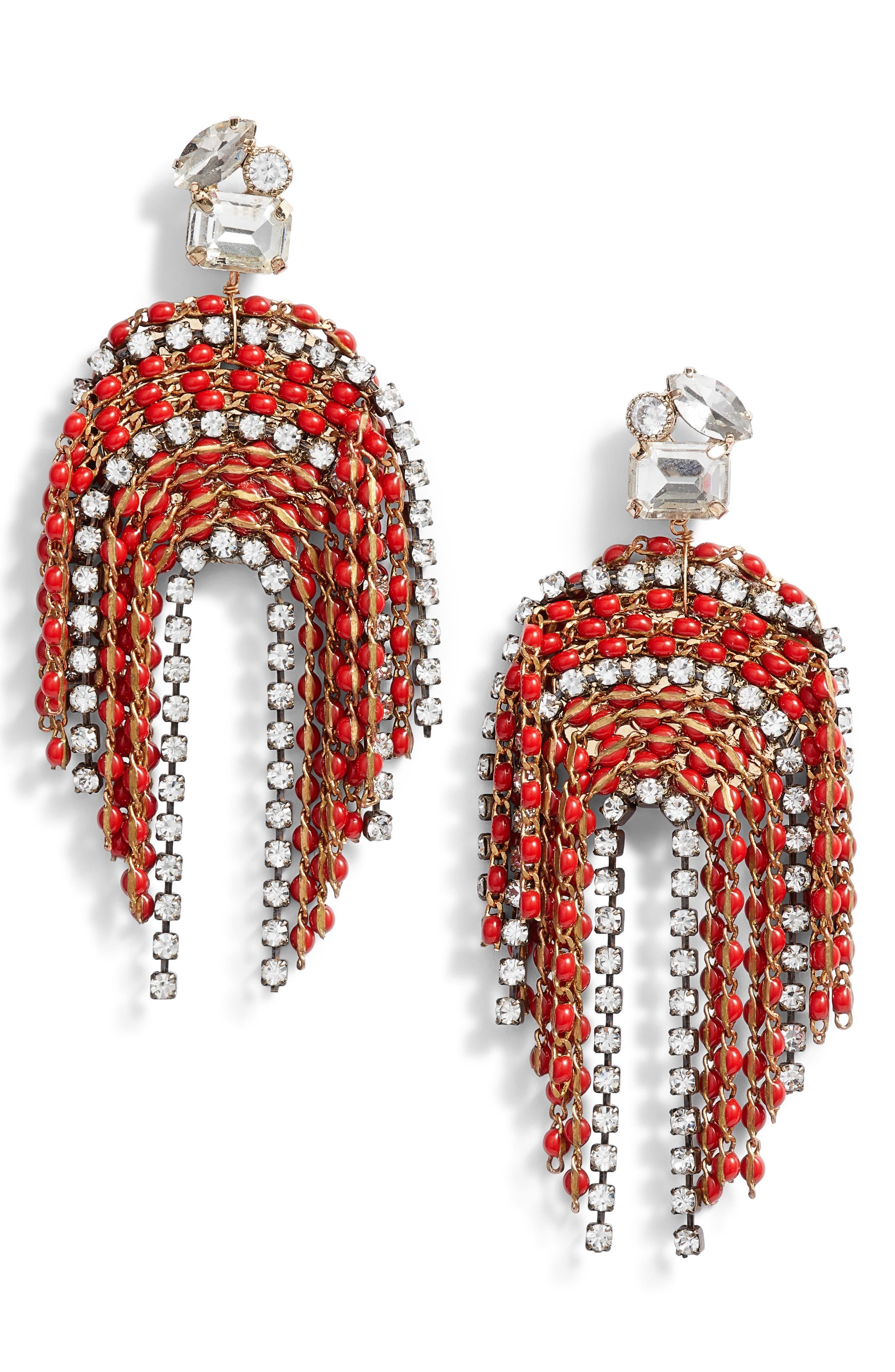 SEREFINA Fringe Statement Earrings in Burgundy