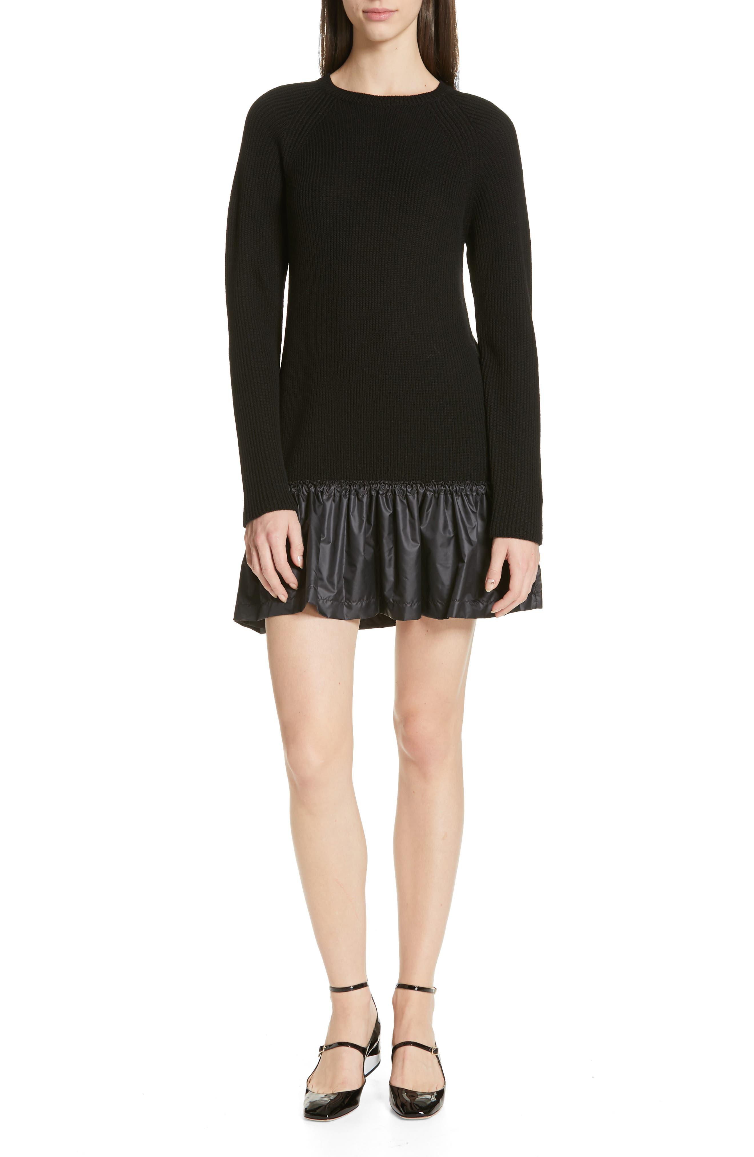 Red Valentino Ruffle Hem Drop Waist Wool Dress, Black