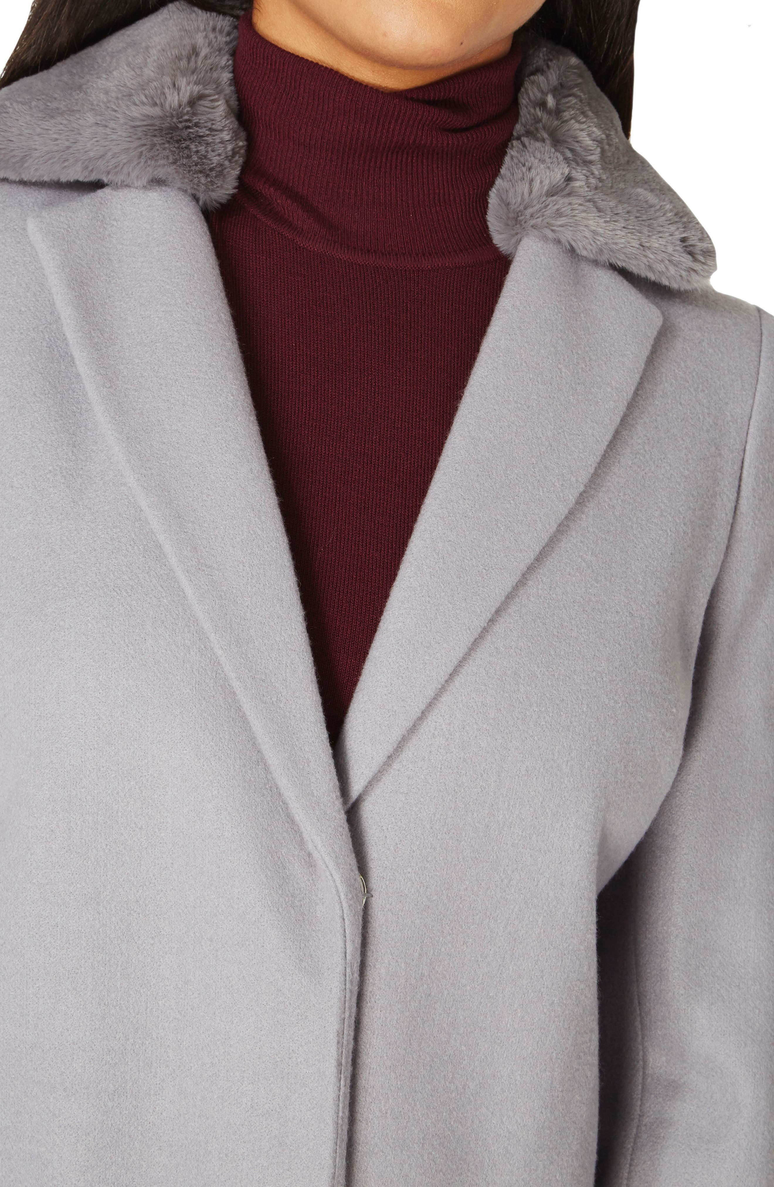 Coat with Faux Fur Collar,                             Alternate thumbnail 8, color,