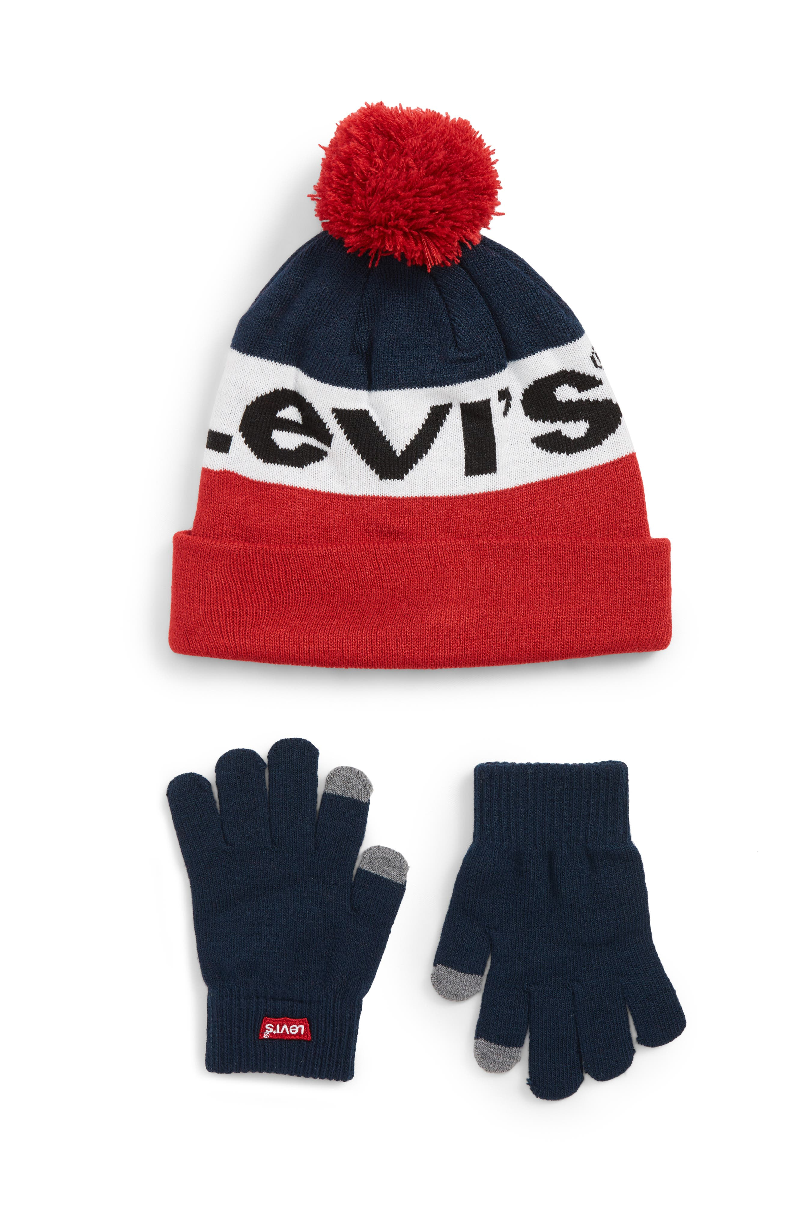 Bold Beanie & Gloves Set,                             Main thumbnail 1, color,                             DRESS BLUES/ LEVIS RED