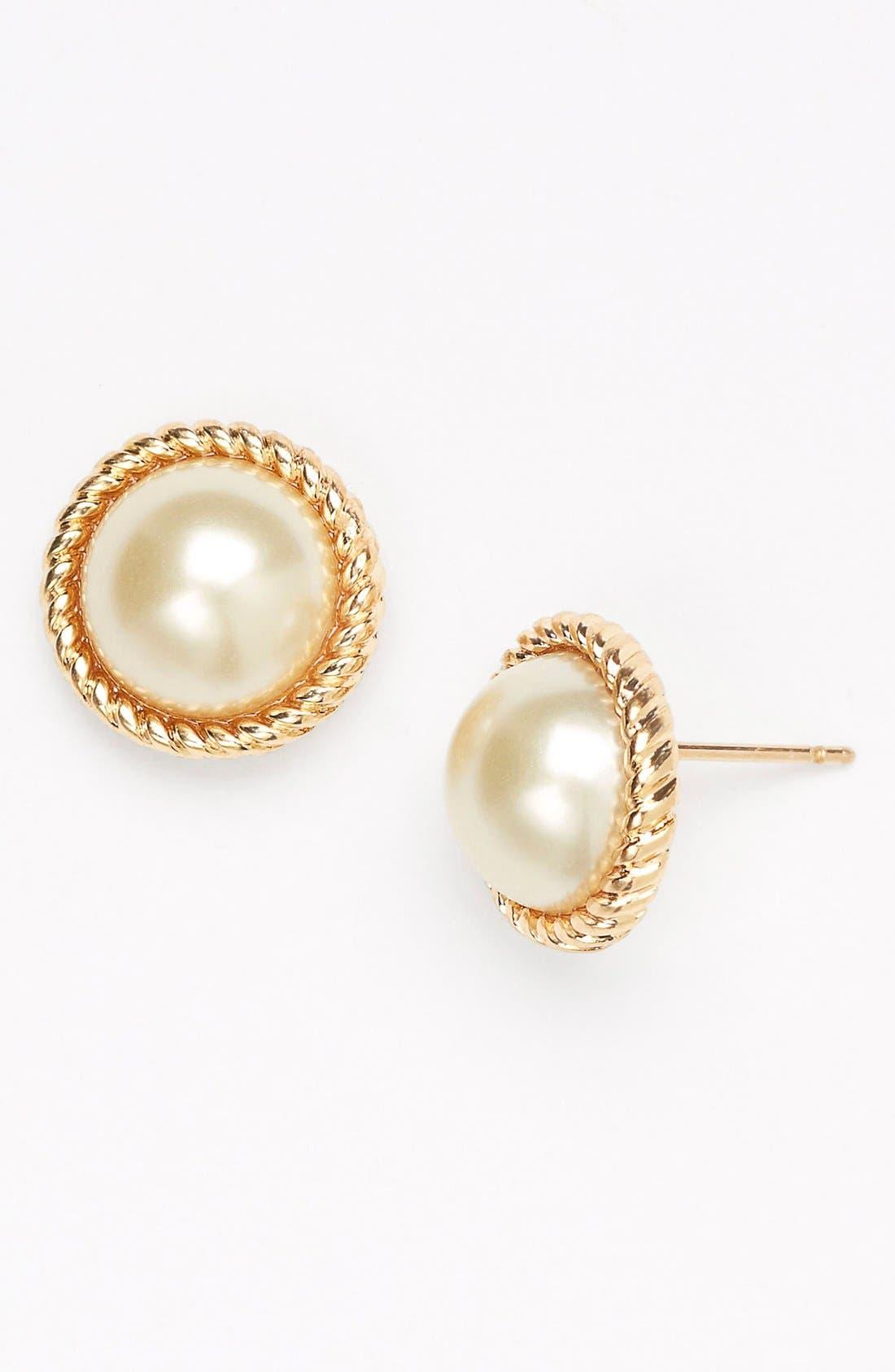 'seaport' faux pearl studs, Main, color, 900
