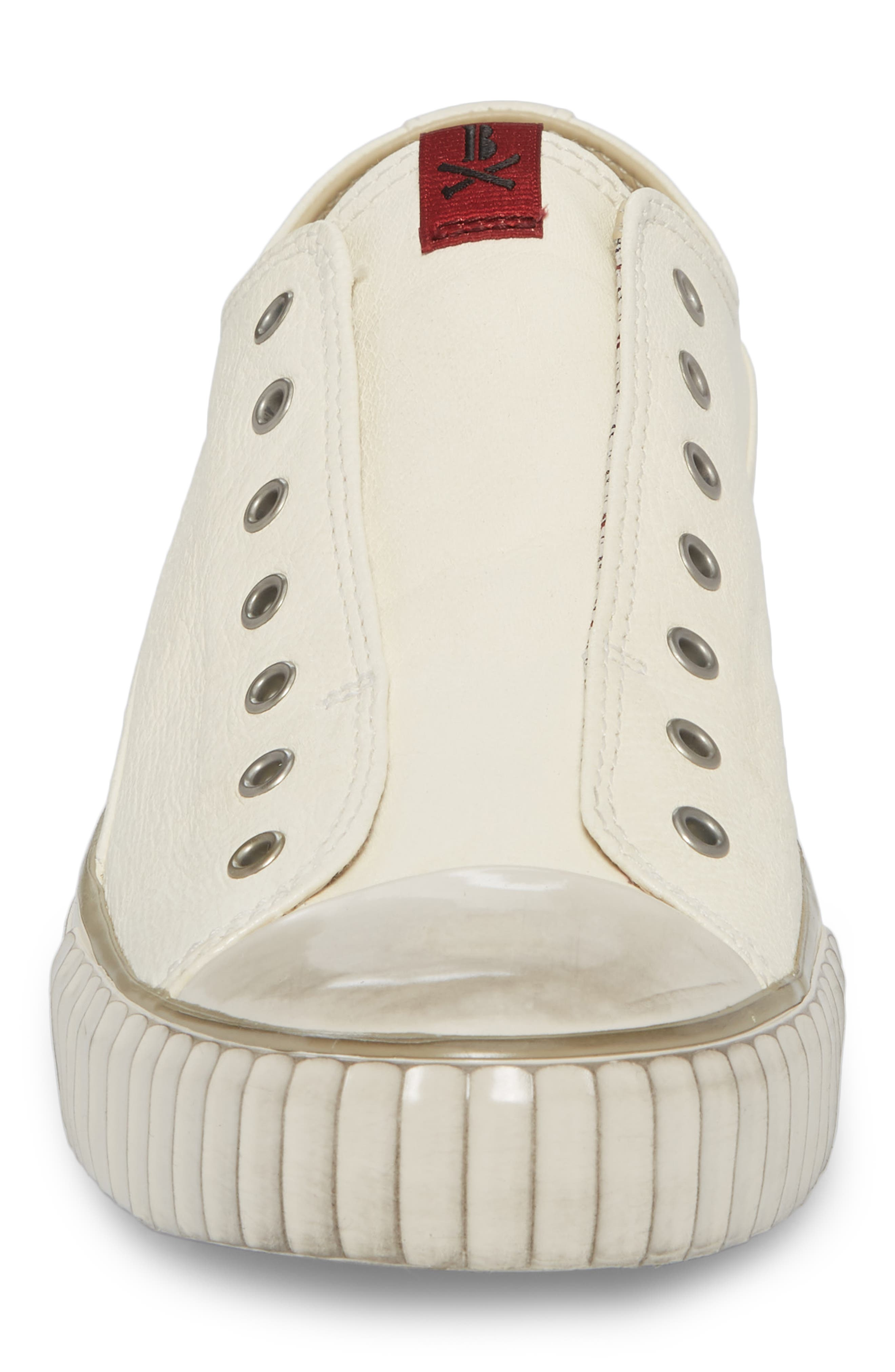 Laceless Low Top Sneaker,                             Alternate thumbnail 4, color,                             WHITE LEATHER