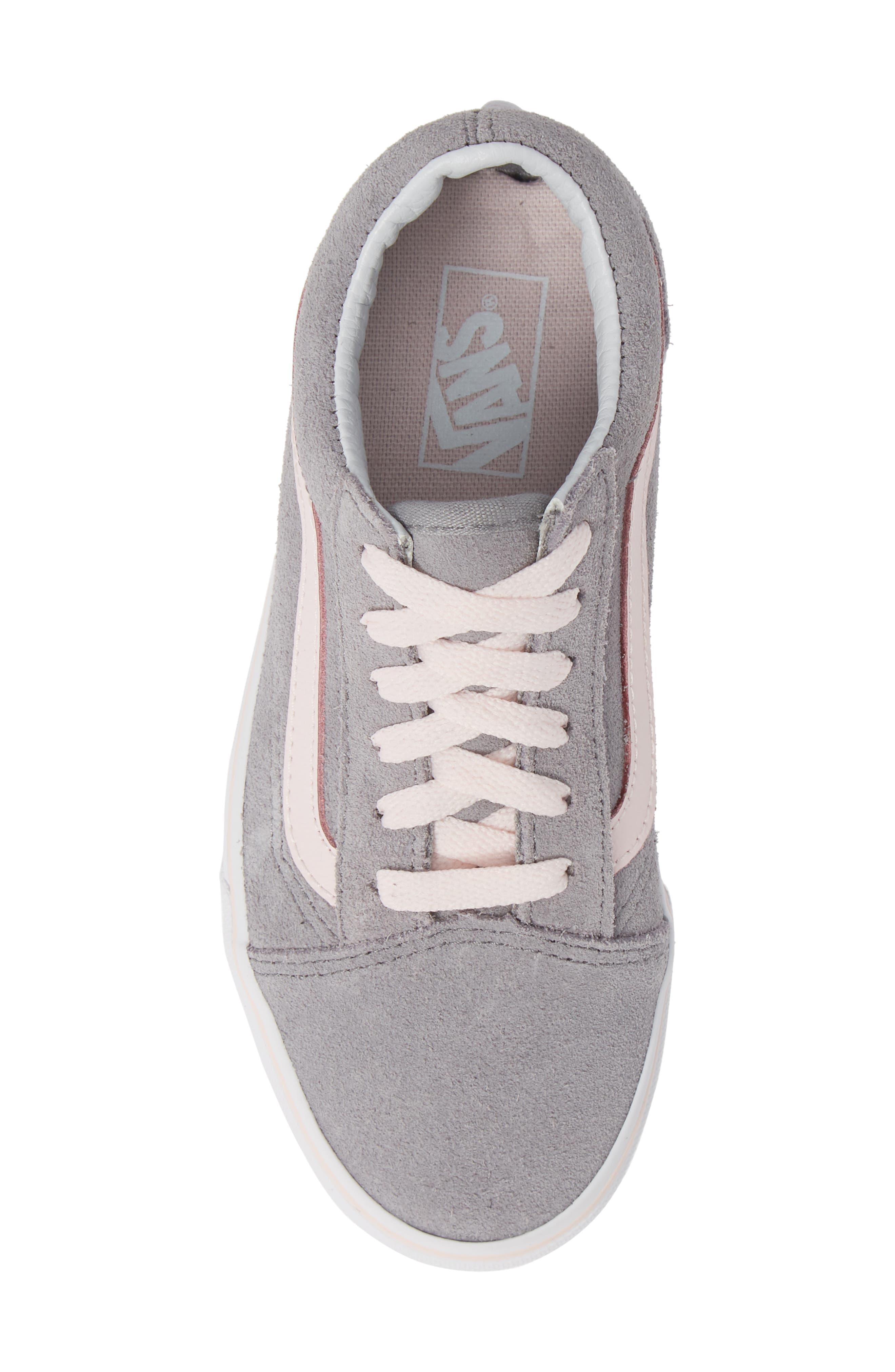 Old Skool Sneaker,                             Alternate thumbnail 5, color,                             SUEDE ALLOY/ PINK/ TRUE WHITE