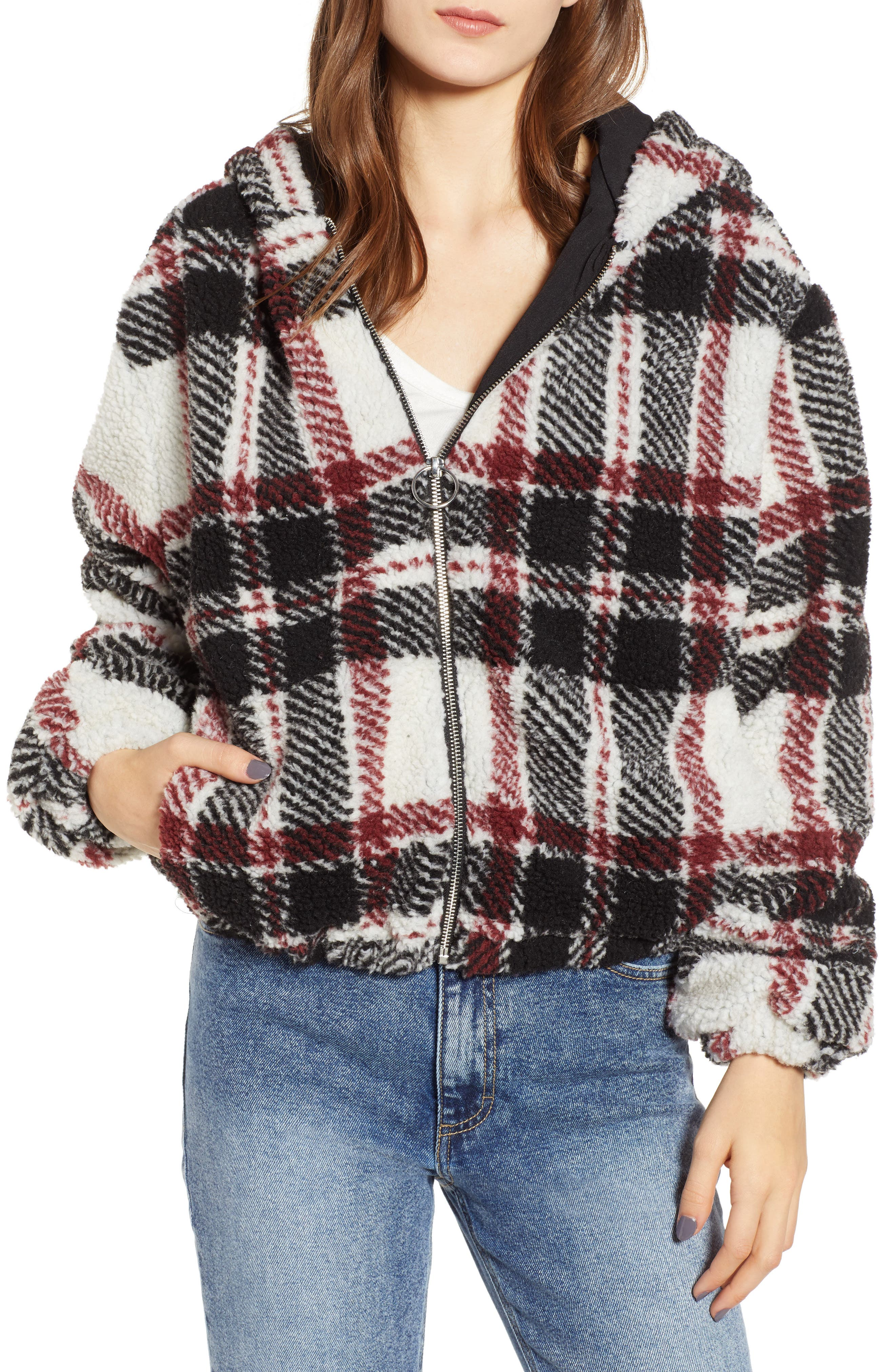 Thread & Supply Plaid Fleece Jacket, Black