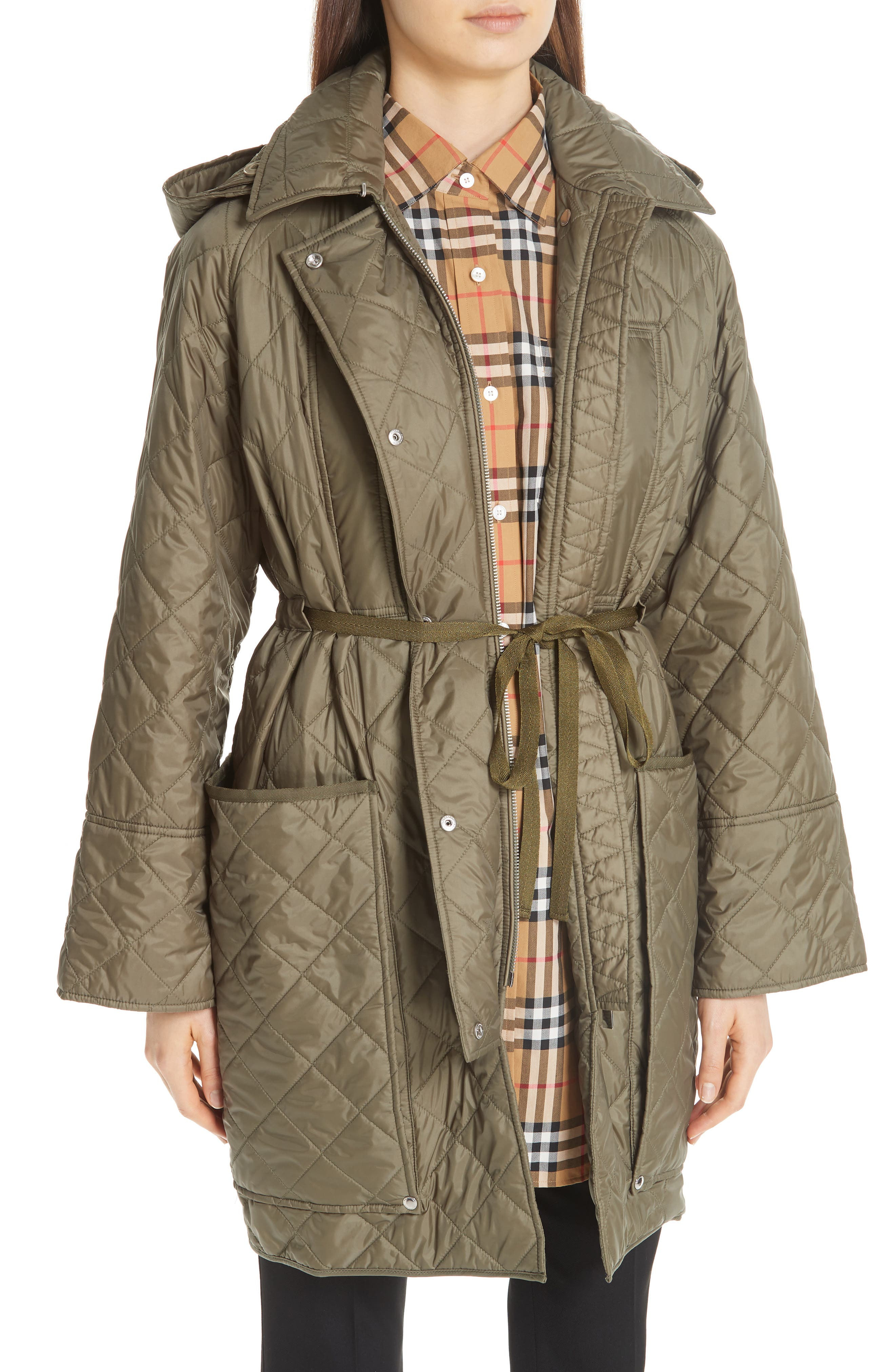 Coleraine Quilted Drawstring Jacket,                             Alternate thumbnail 6, color,                             CADET GREEN