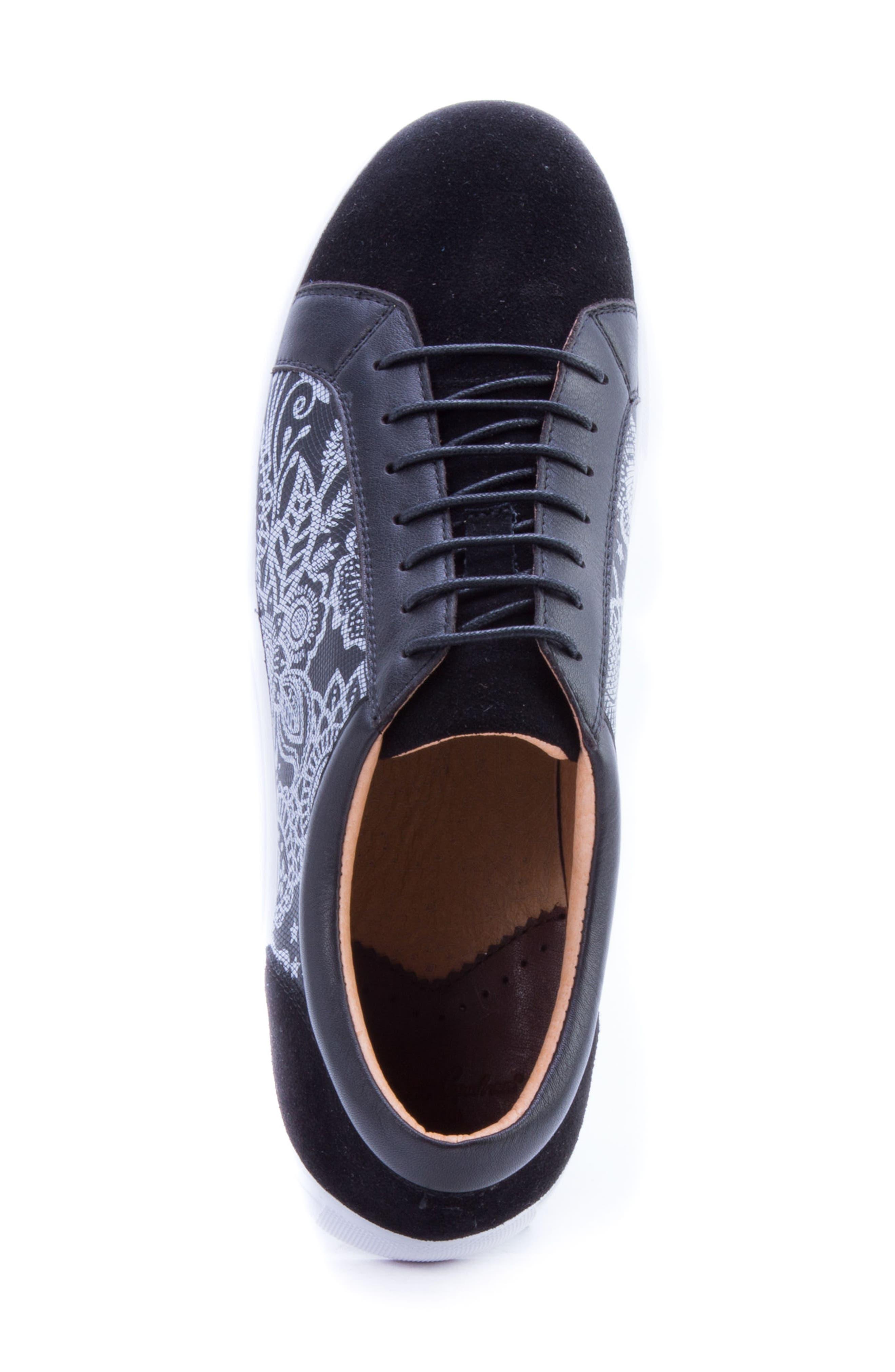 Rubio Floral Sneaker,                             Alternate thumbnail 5, color,                             BLACK SUEDE