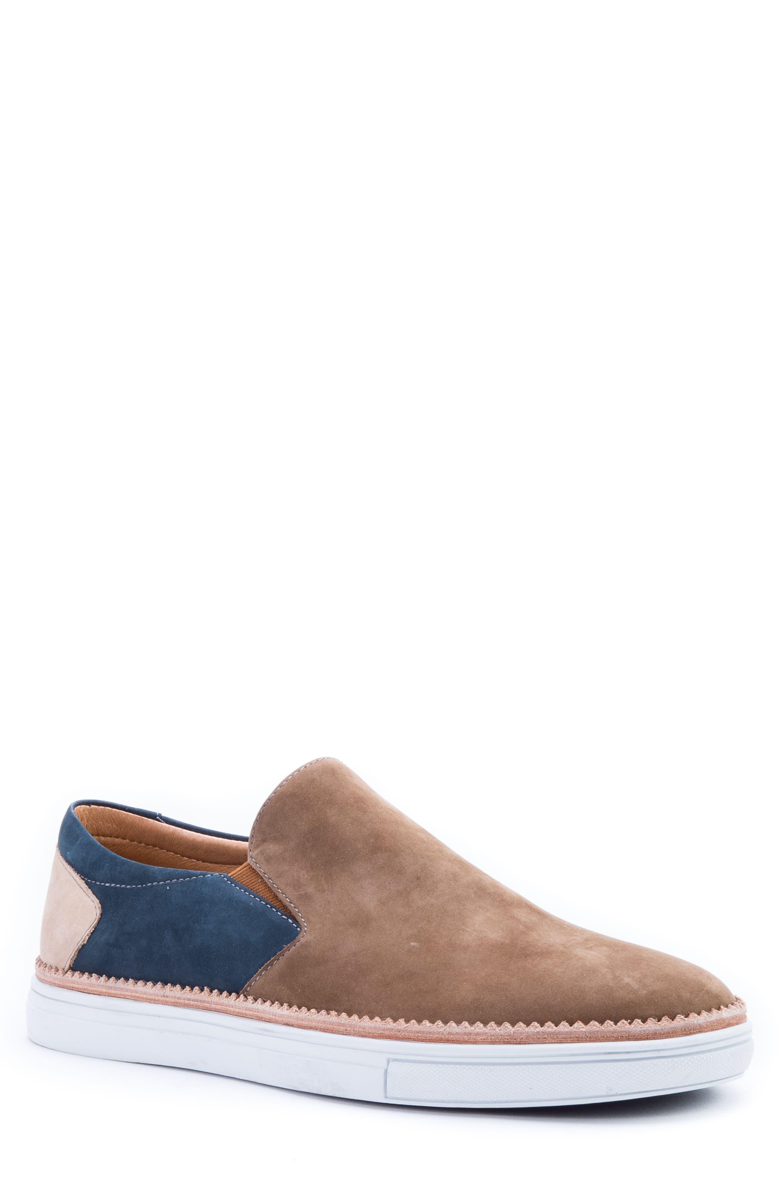 Rivera Colorblocked Slip-On Sneaker,                             Main thumbnail 1, color,                             COGNAC SUEDE