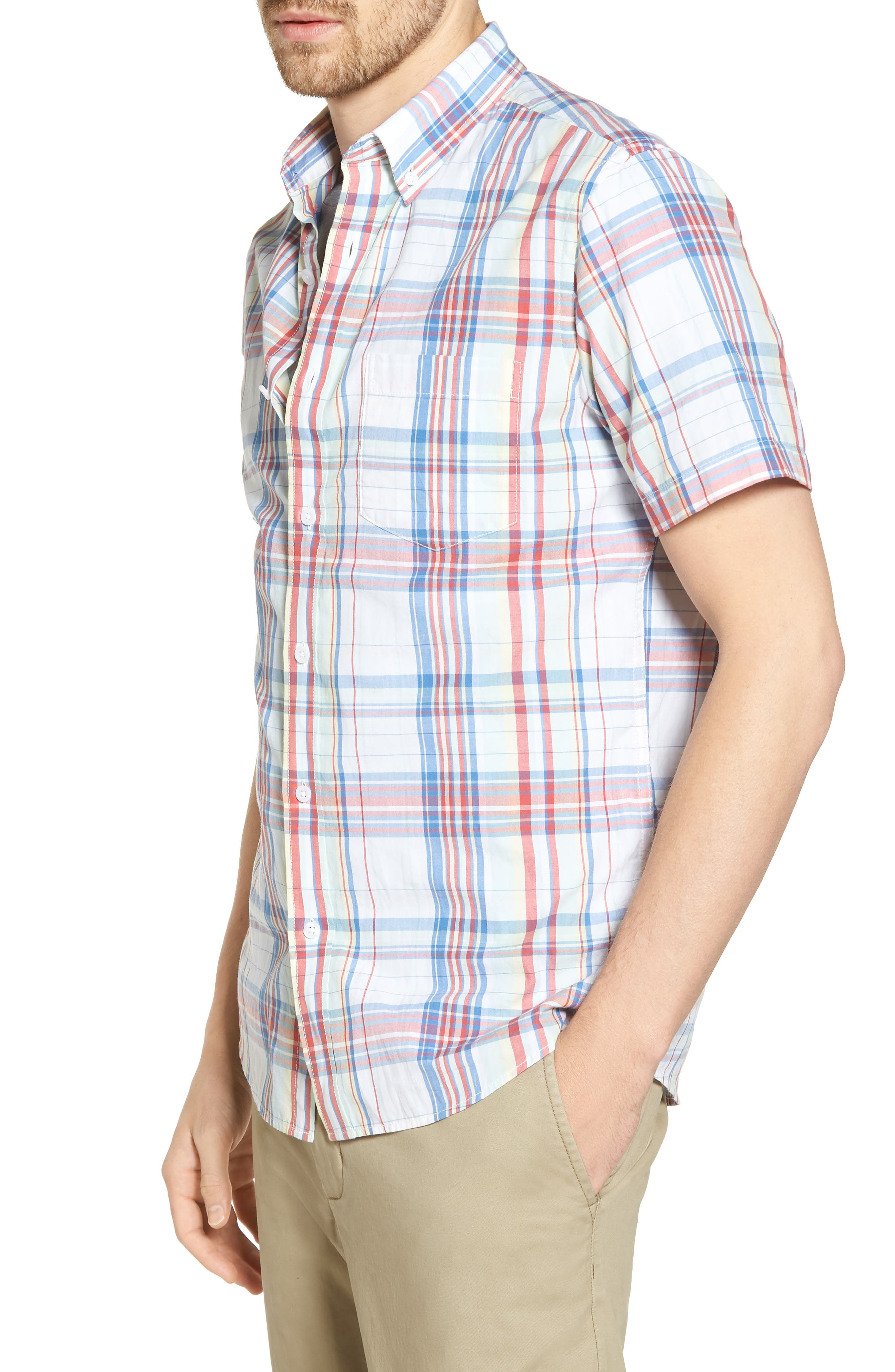 Trim Fit Plaid Short Sleeve Sport Shirt,                             Alternate thumbnail 3, color,