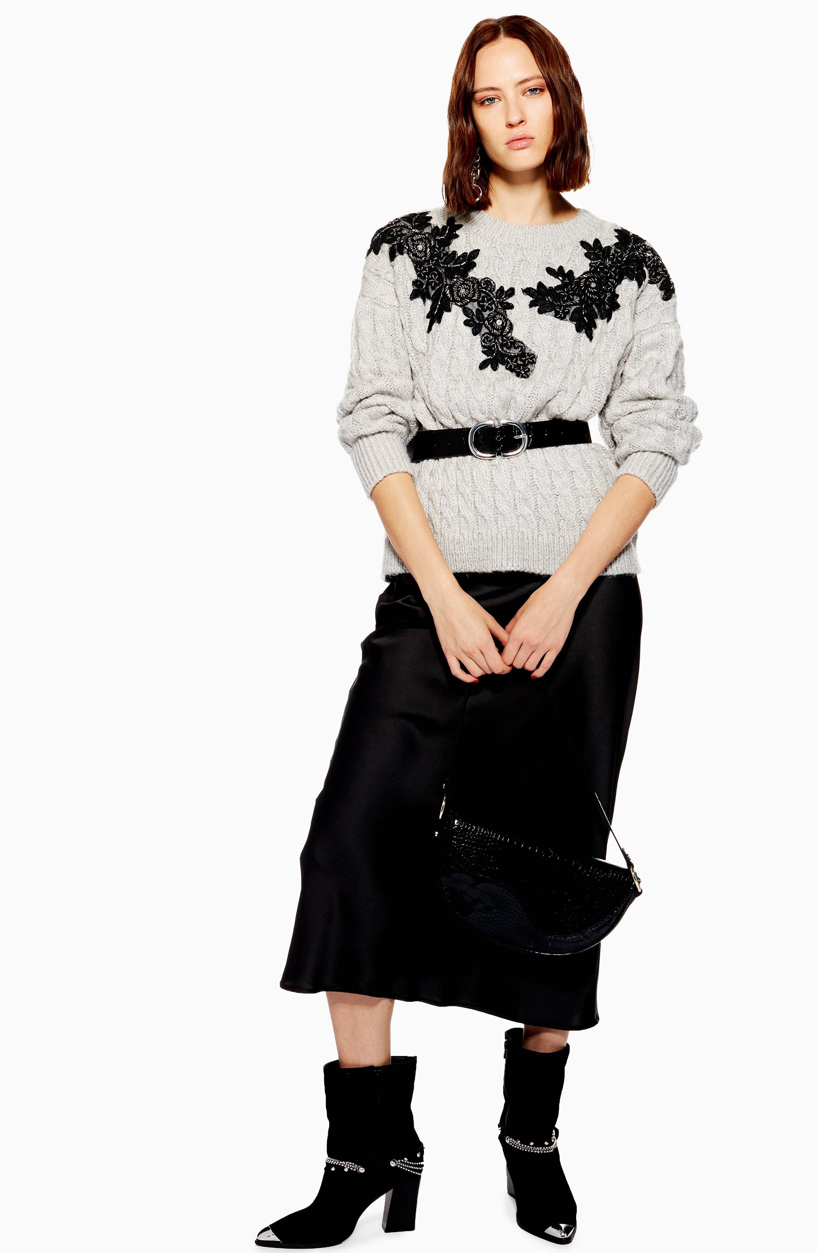 TOPSHOP,                             Appliqué Cable Knit Sweater,                             Alternate thumbnail 5, color,                             020