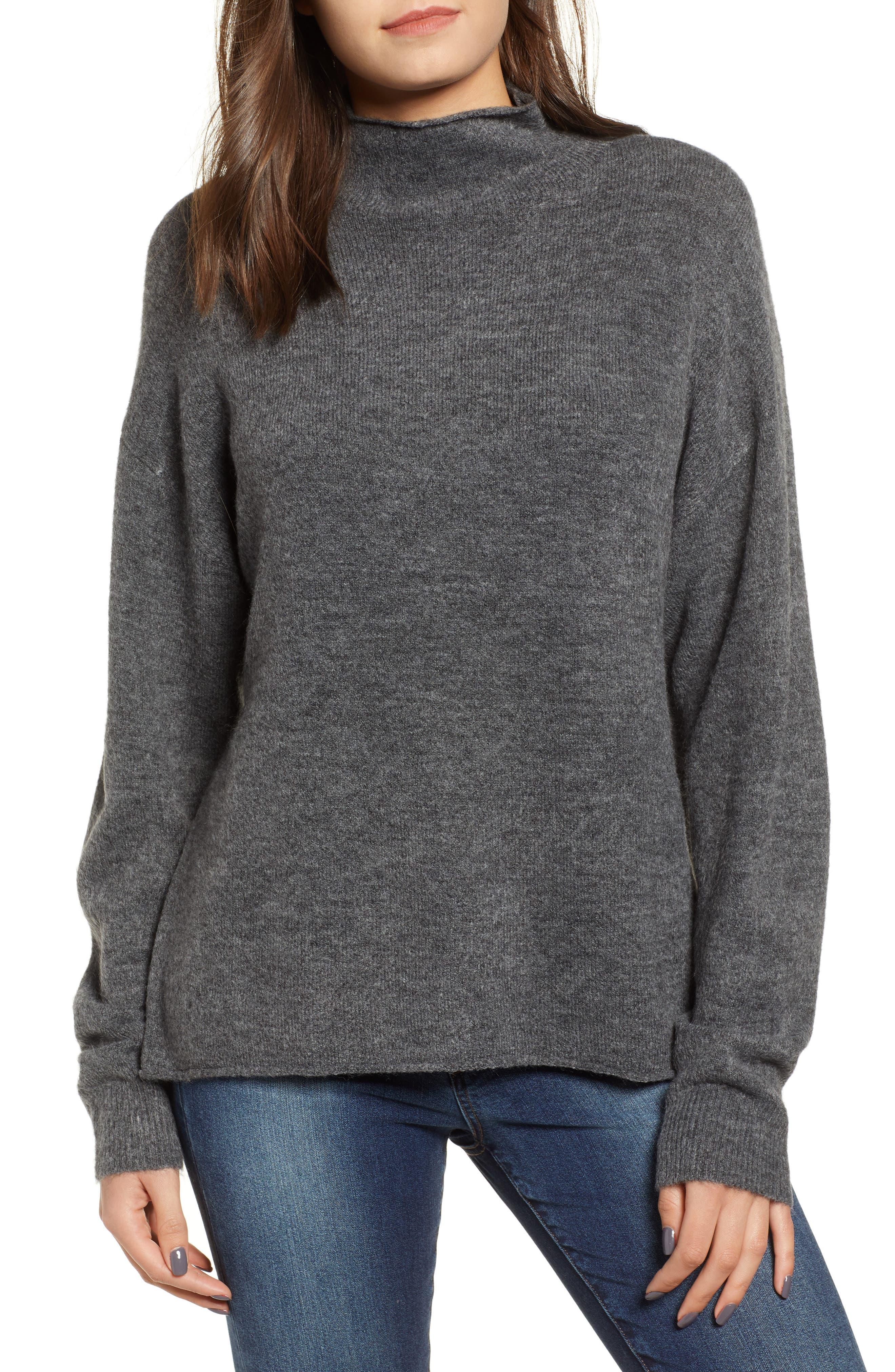 Cozy Mock Neck Sweater,                             Main thumbnail 1, color,                             GREY MEDIUM CHARCOAL HEATHER