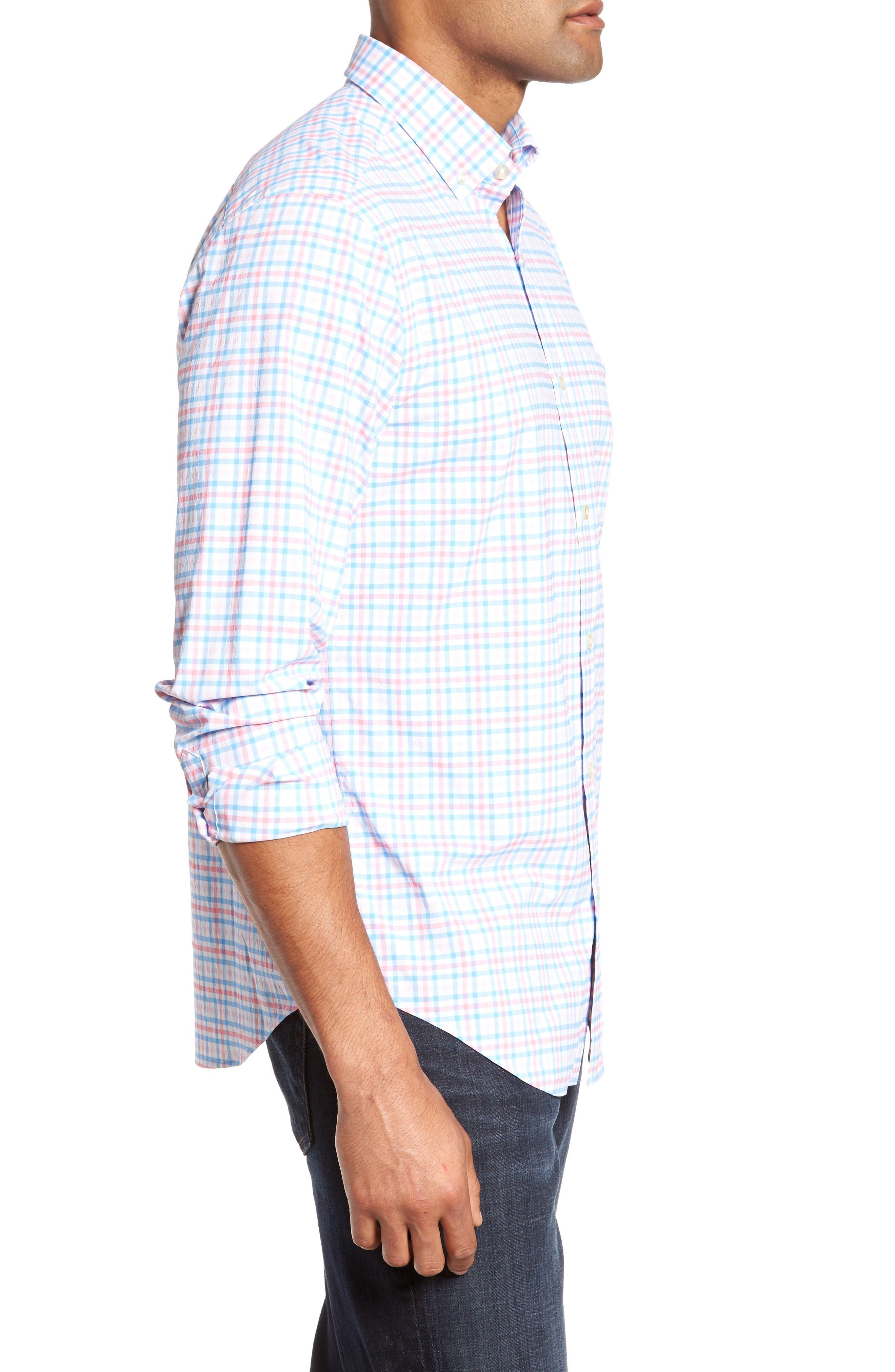 Gulf Shore Tucker Classic Fit Gingham Sport Shirt,                             Alternate thumbnail 3, color,                             956