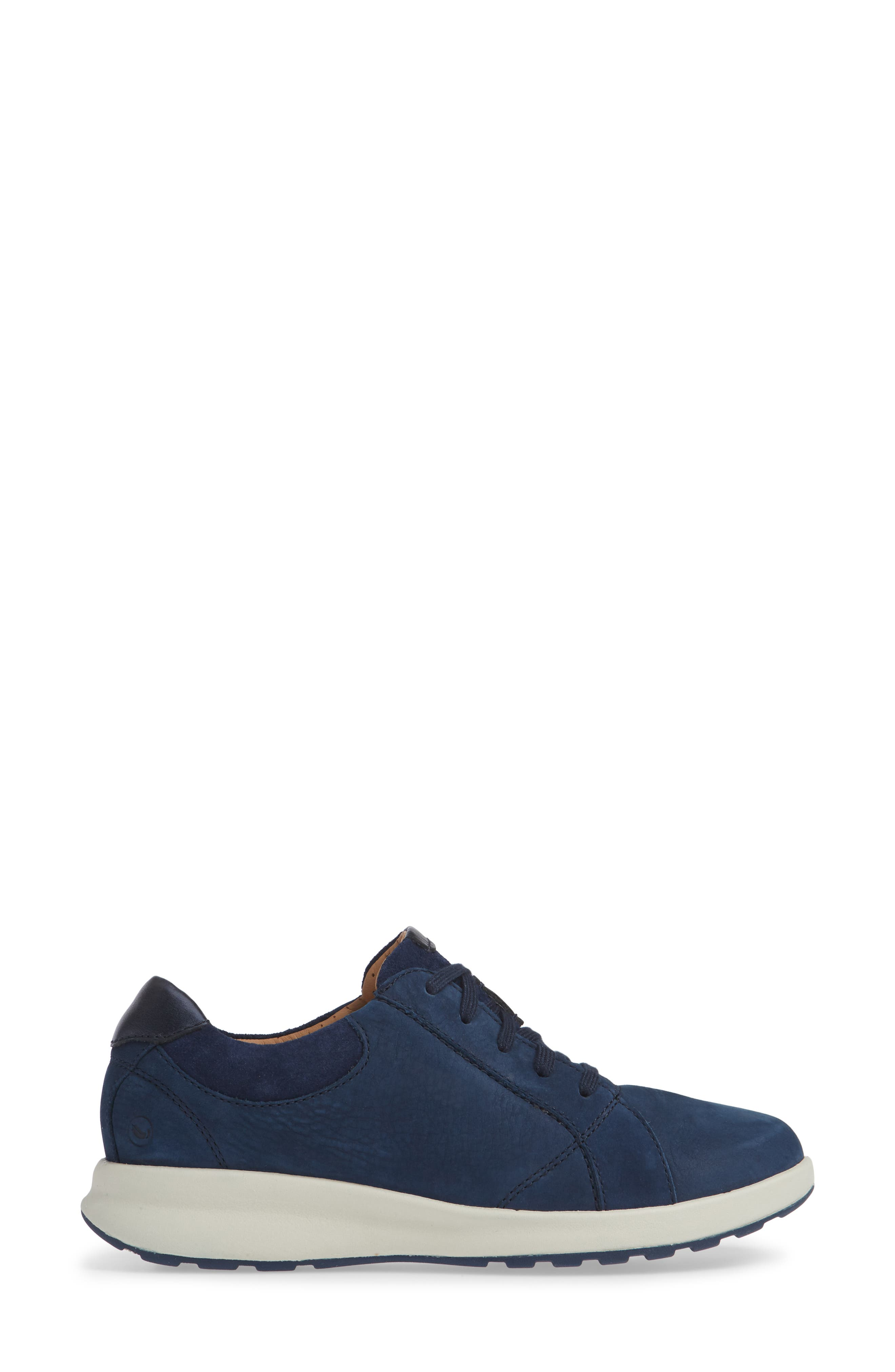 UnAdorn Lace-Up Sneaker,                             Alternate thumbnail 3, color,                             NAVY NUBUCK