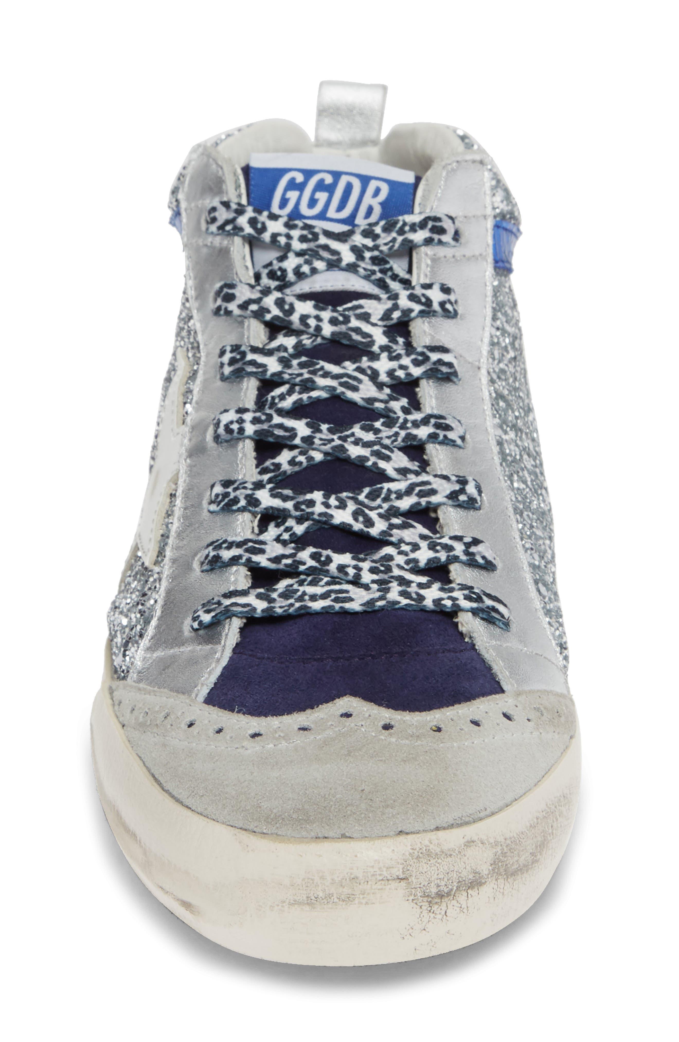Mid Star Glitter Sneaker,                             Alternate thumbnail 4, color,                             SILVER/ WHITE