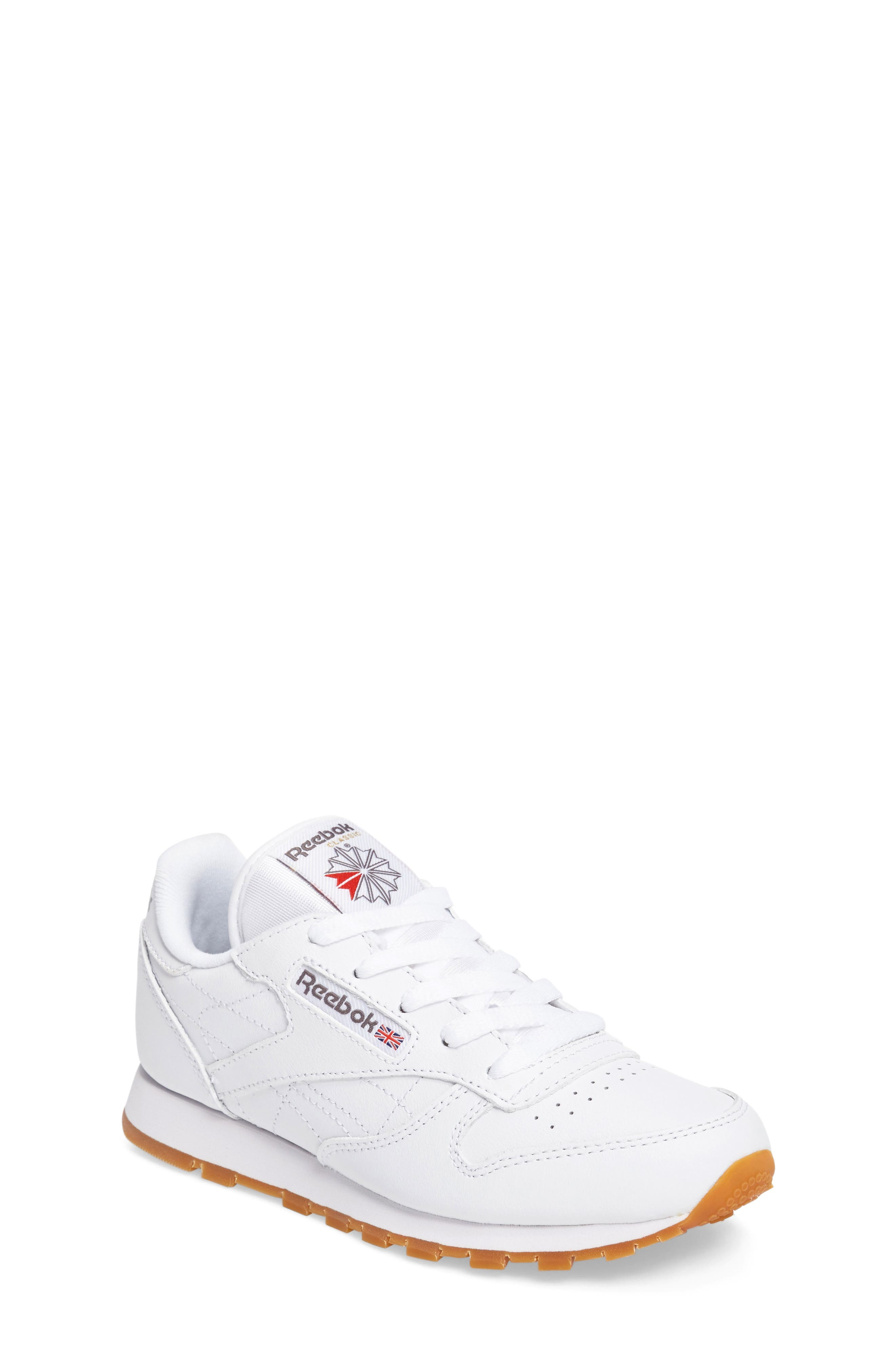 Classic Leather Sneaker,                             Main thumbnail 1, color,                             WHITE/ GUM