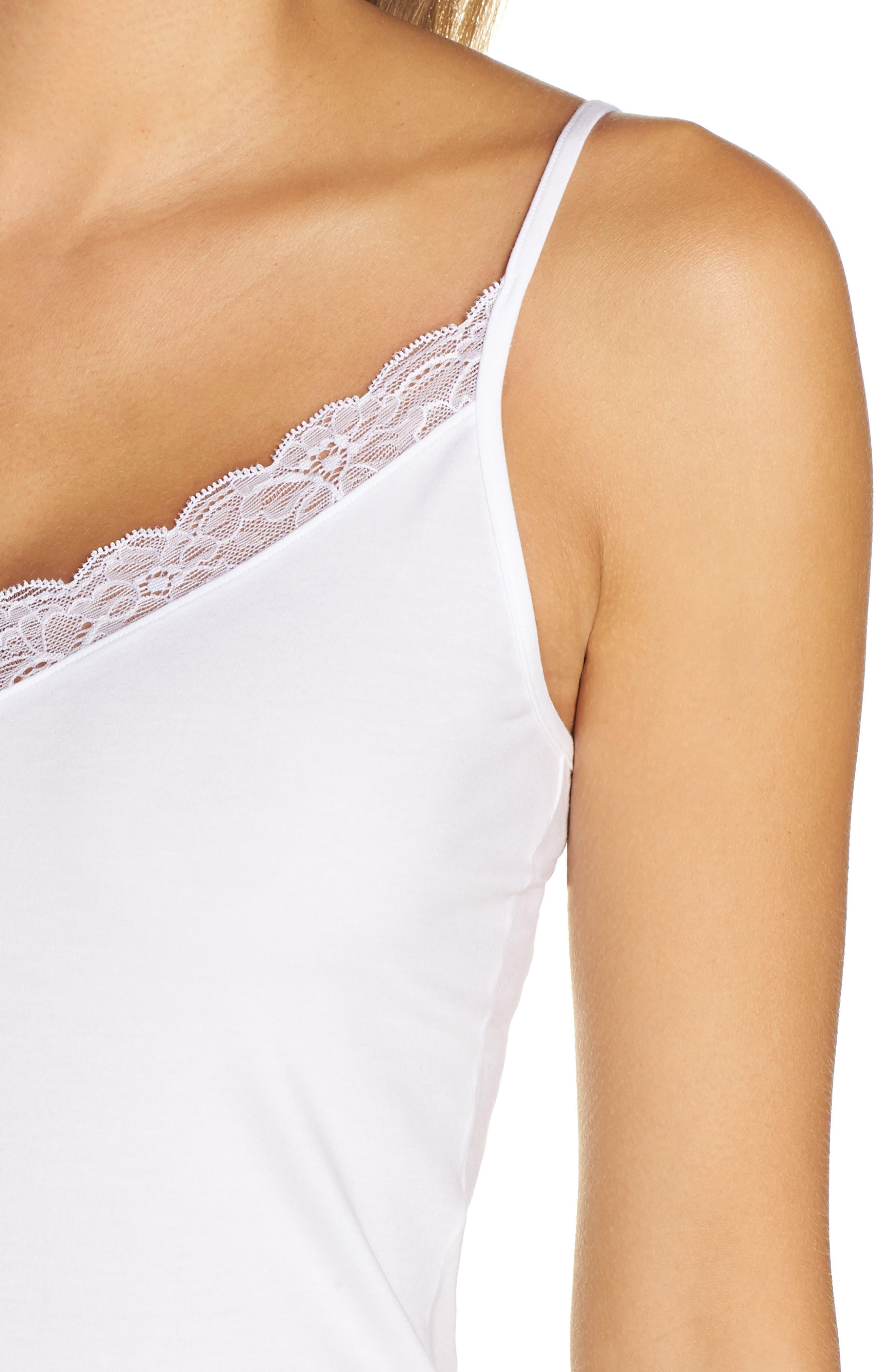 Cotton Lace Camisole,                             Alternate thumbnail 4, color,                             WHITE