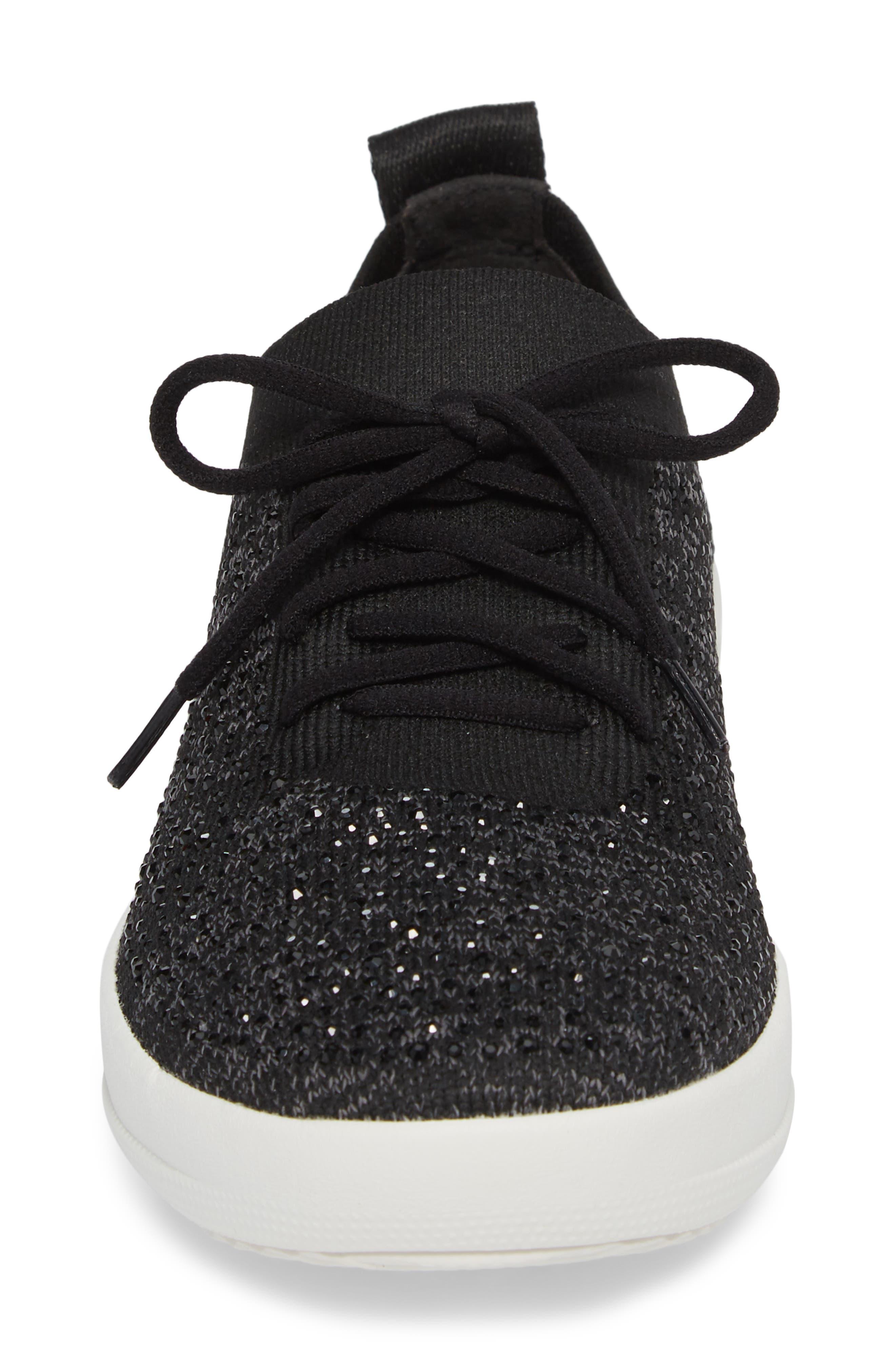 Uberknit<sup>™</sup> F-Sporty Sneaker,                             Alternate thumbnail 4, color,                             BLACK LEATHER