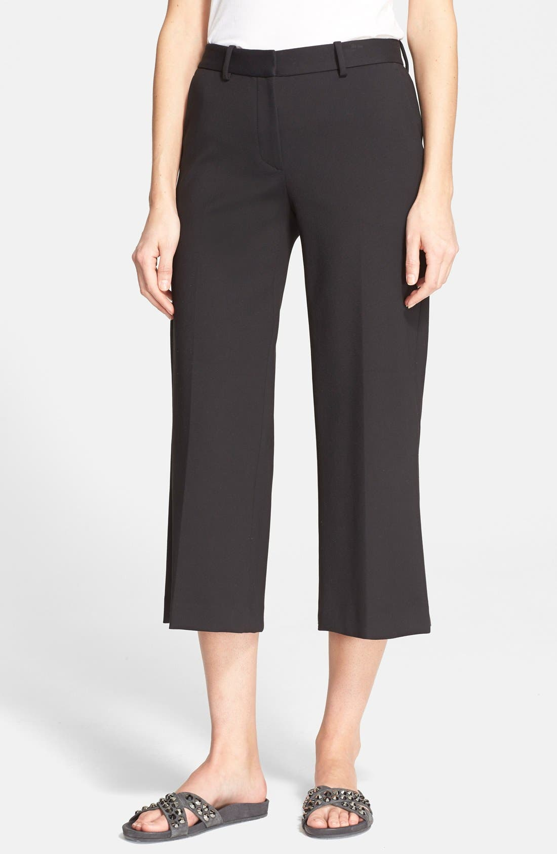 THEORY 'Sprinza' Wide Leg Crop Pants, Main, color, 001