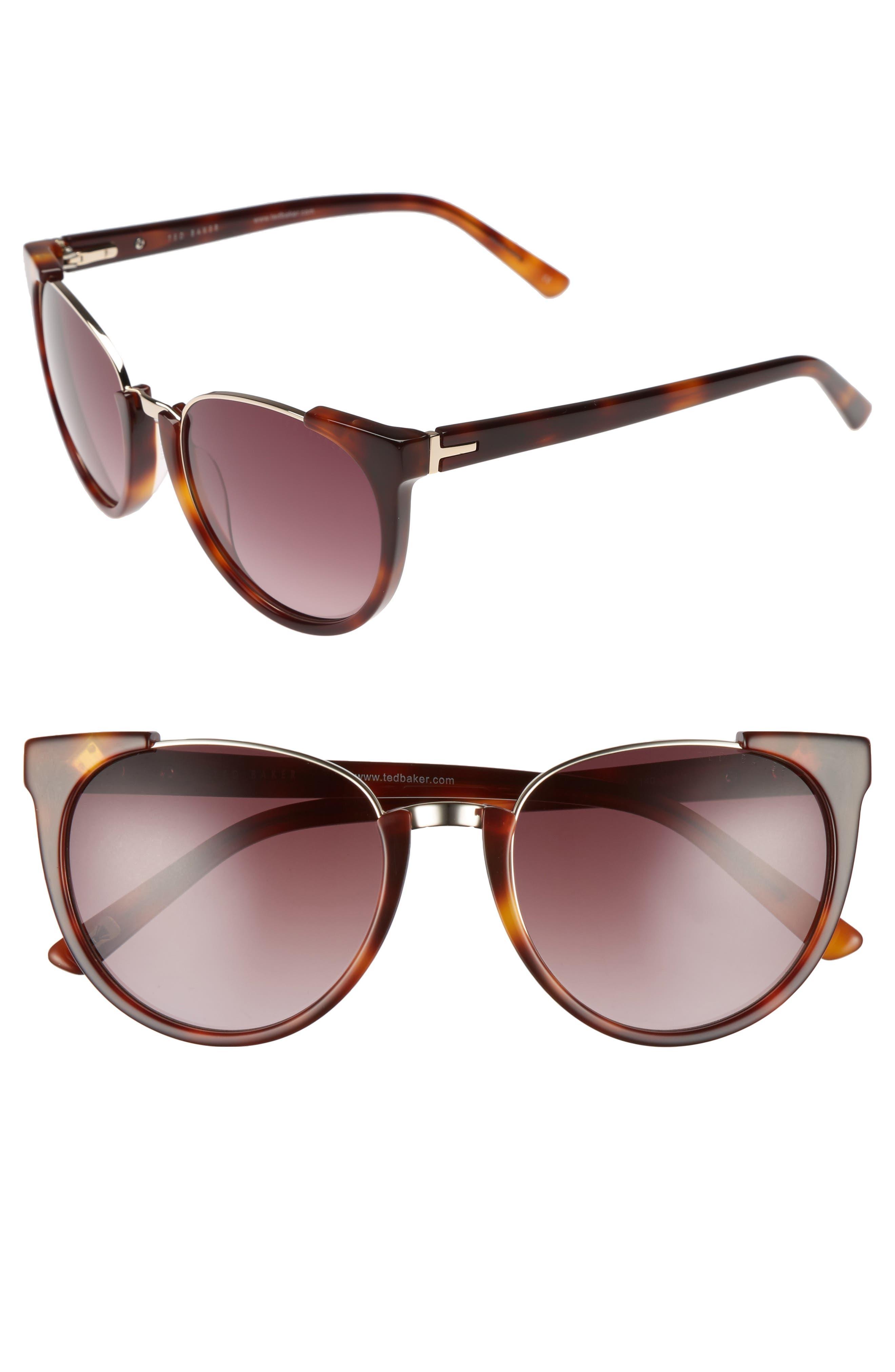 53mm Modified Oval Sunglasses,                             Main thumbnail 1, color,                             TORTOISE