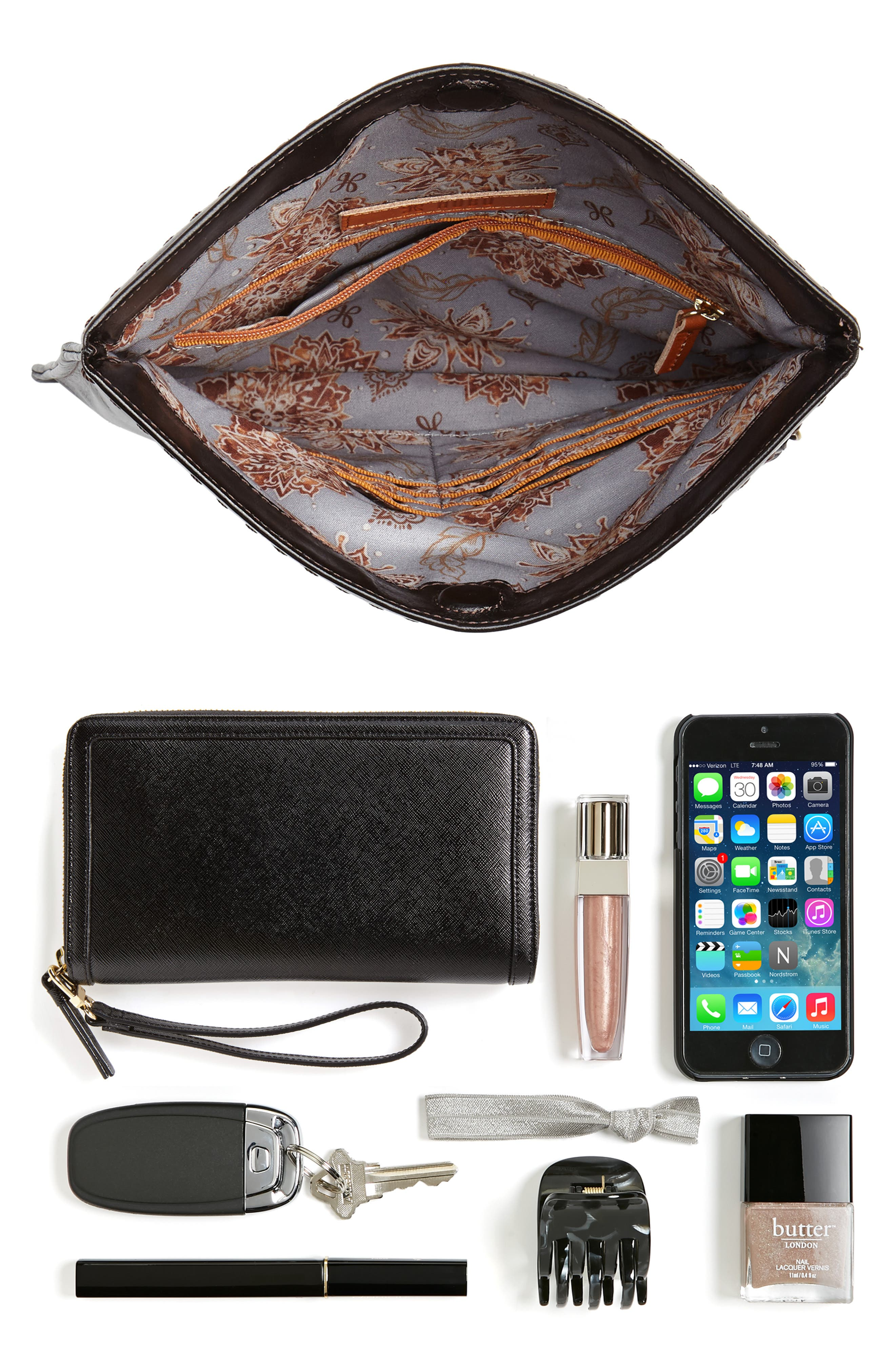 Arbor Leather Wristlet Clutch,                             Alternate thumbnail 7, color,                             001