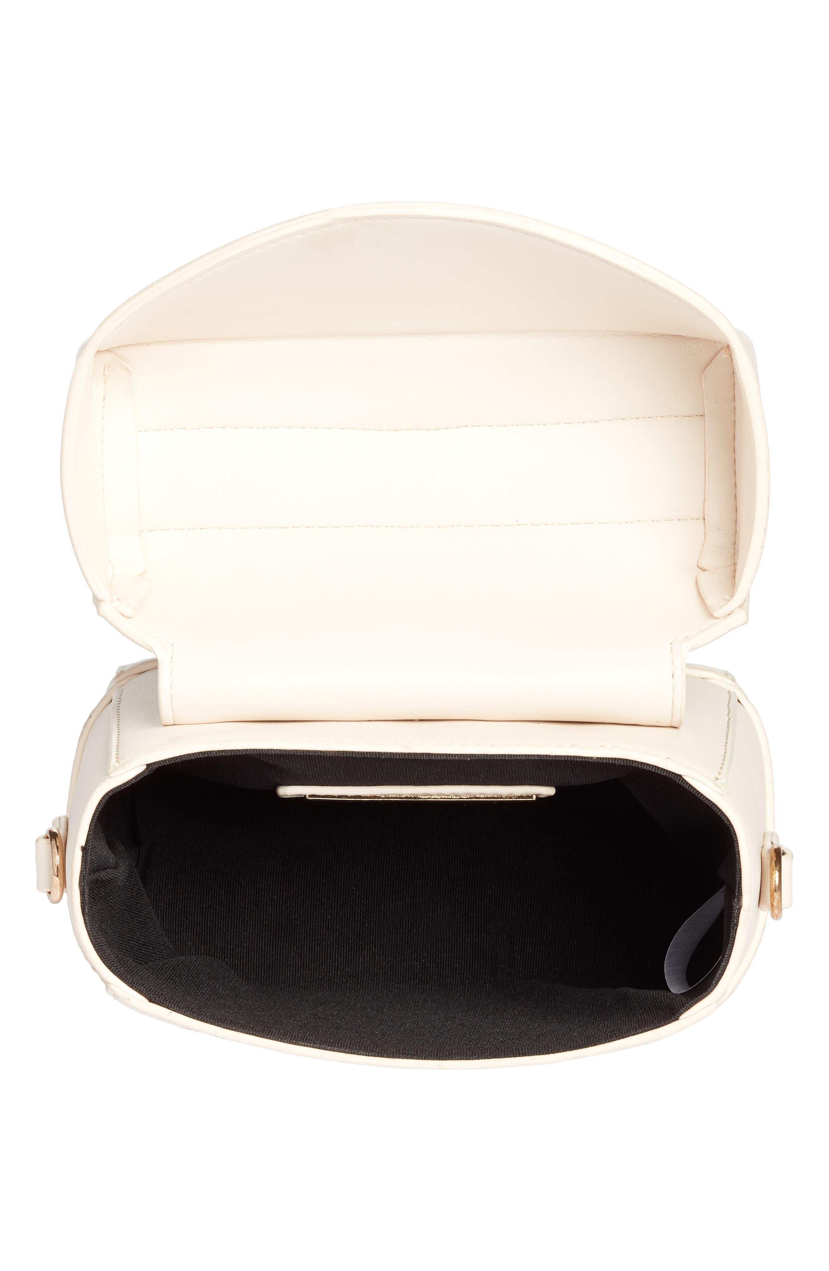 Top Handle Studded Bag,                             Alternate thumbnail 3, color,                             WHITE