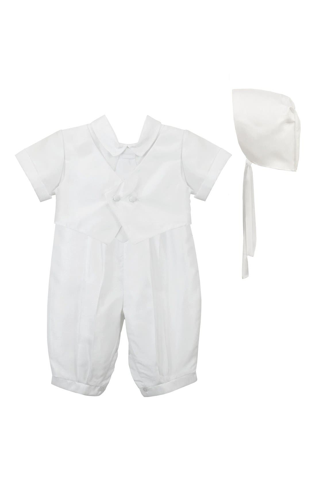 Christening Romper & Cap,                             Main thumbnail 1, color,                             WHITE