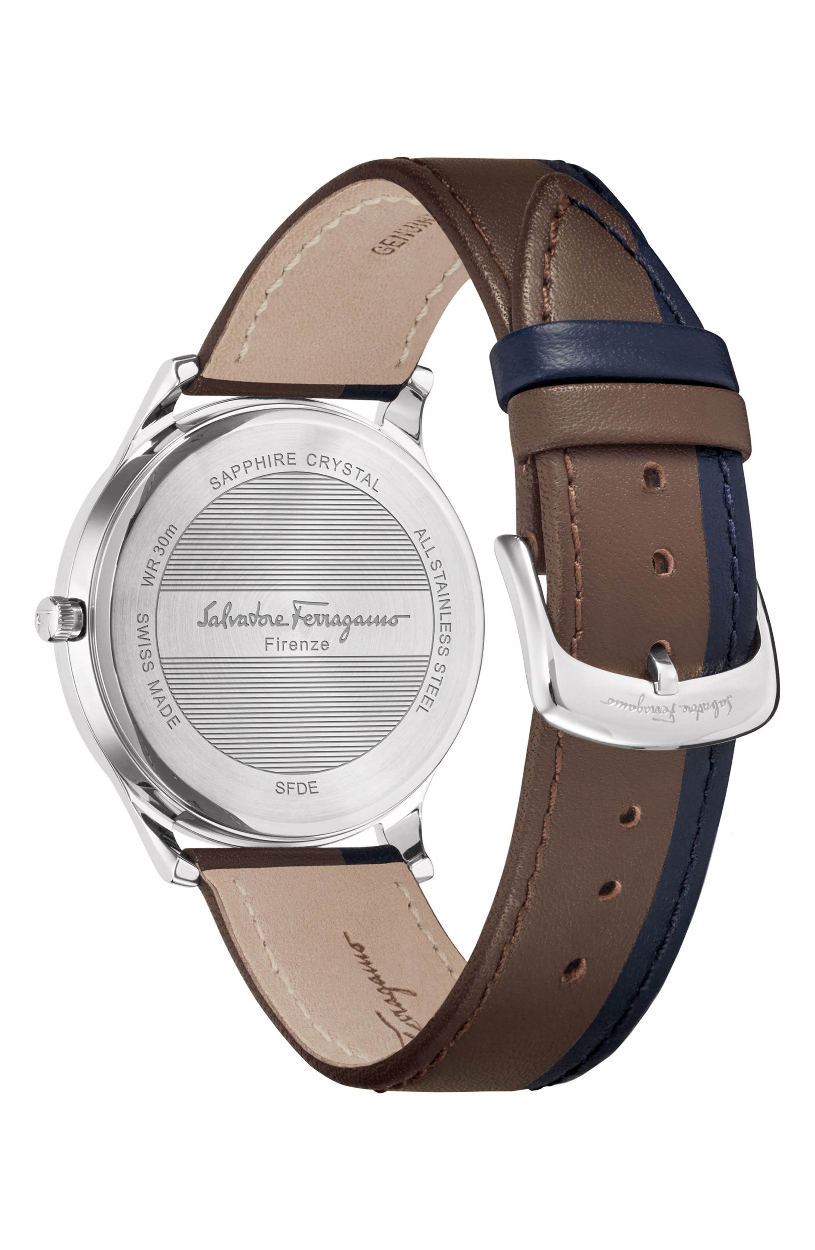 SALVATORE FERRAGAMO,                             Slim Formal Leather Strap Watch, 40mm,                             Alternate thumbnail 2, color,                             200