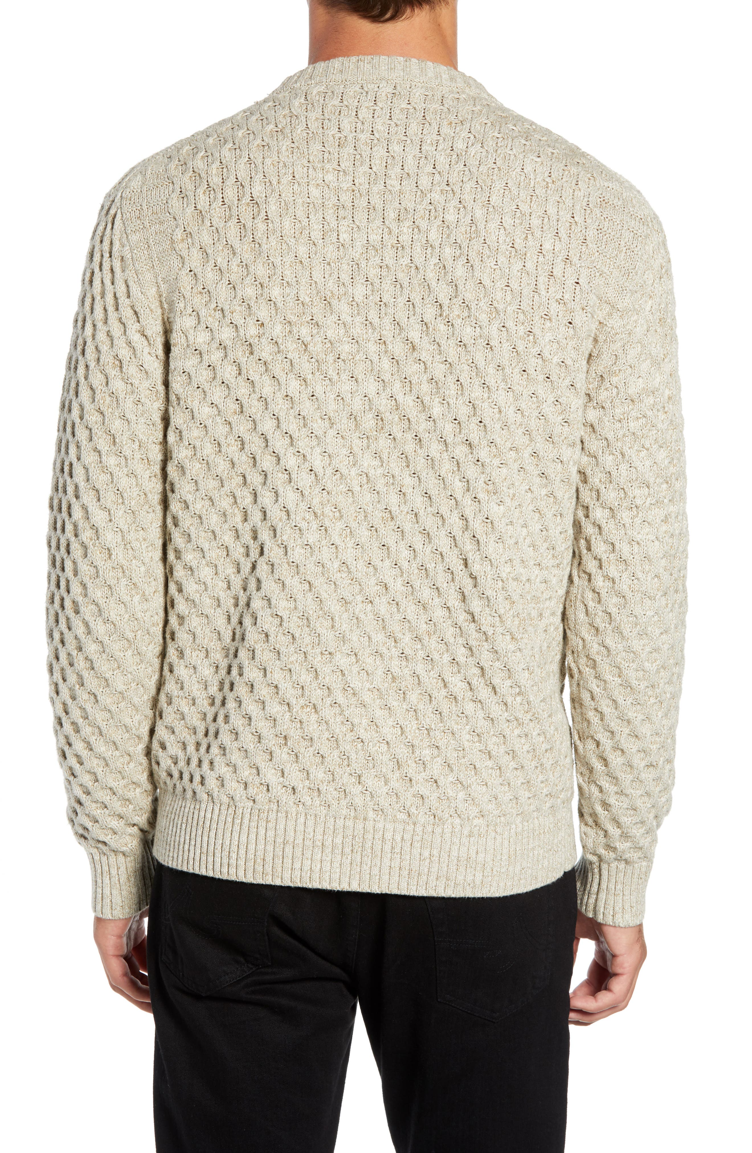 Ethan Fisherman Cable Sweater,                             Alternate thumbnail 2, color,                             CREAM