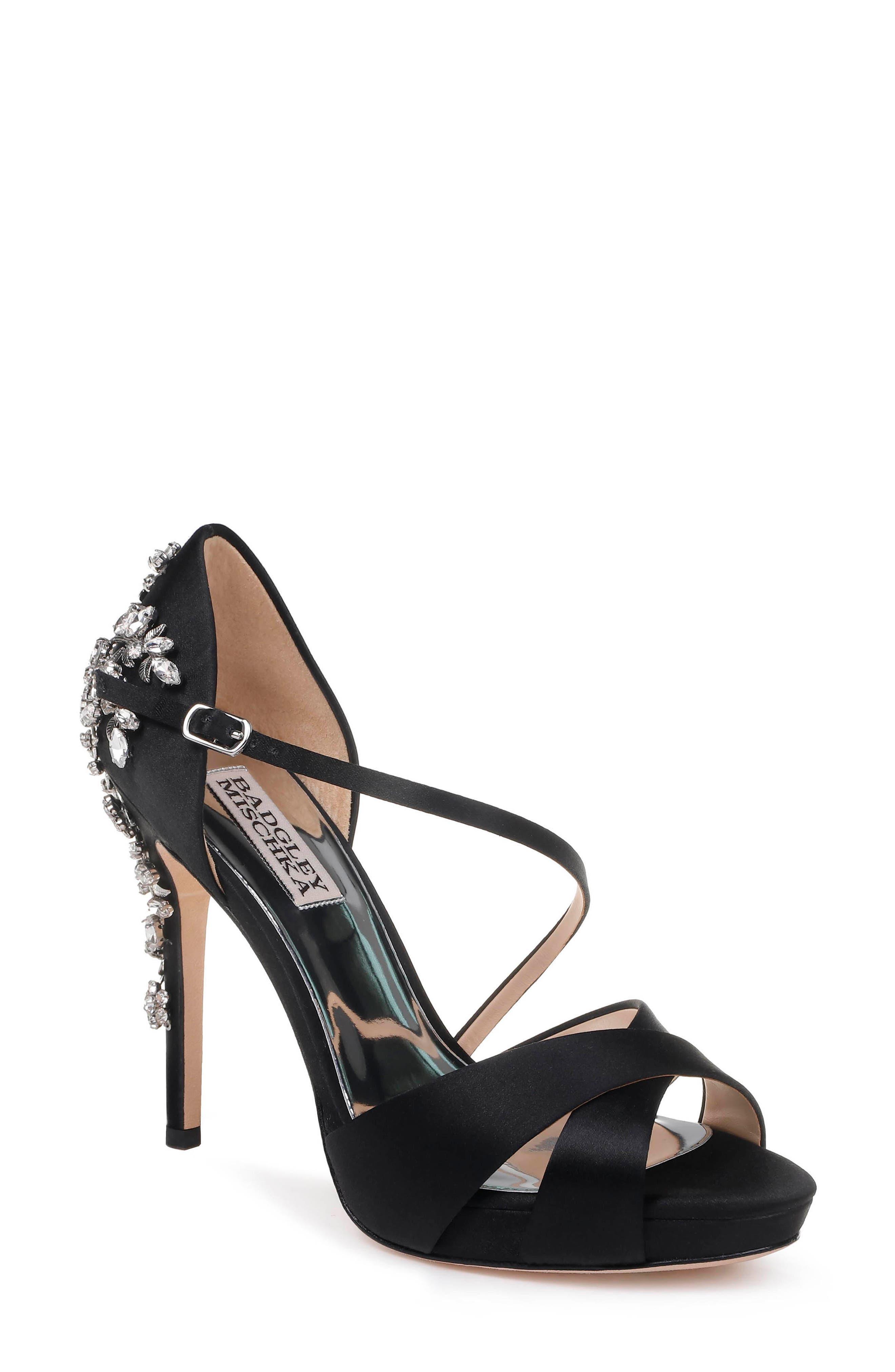BADGLEY MISCHKA Fame Satin Platform Sandals in Black Satin