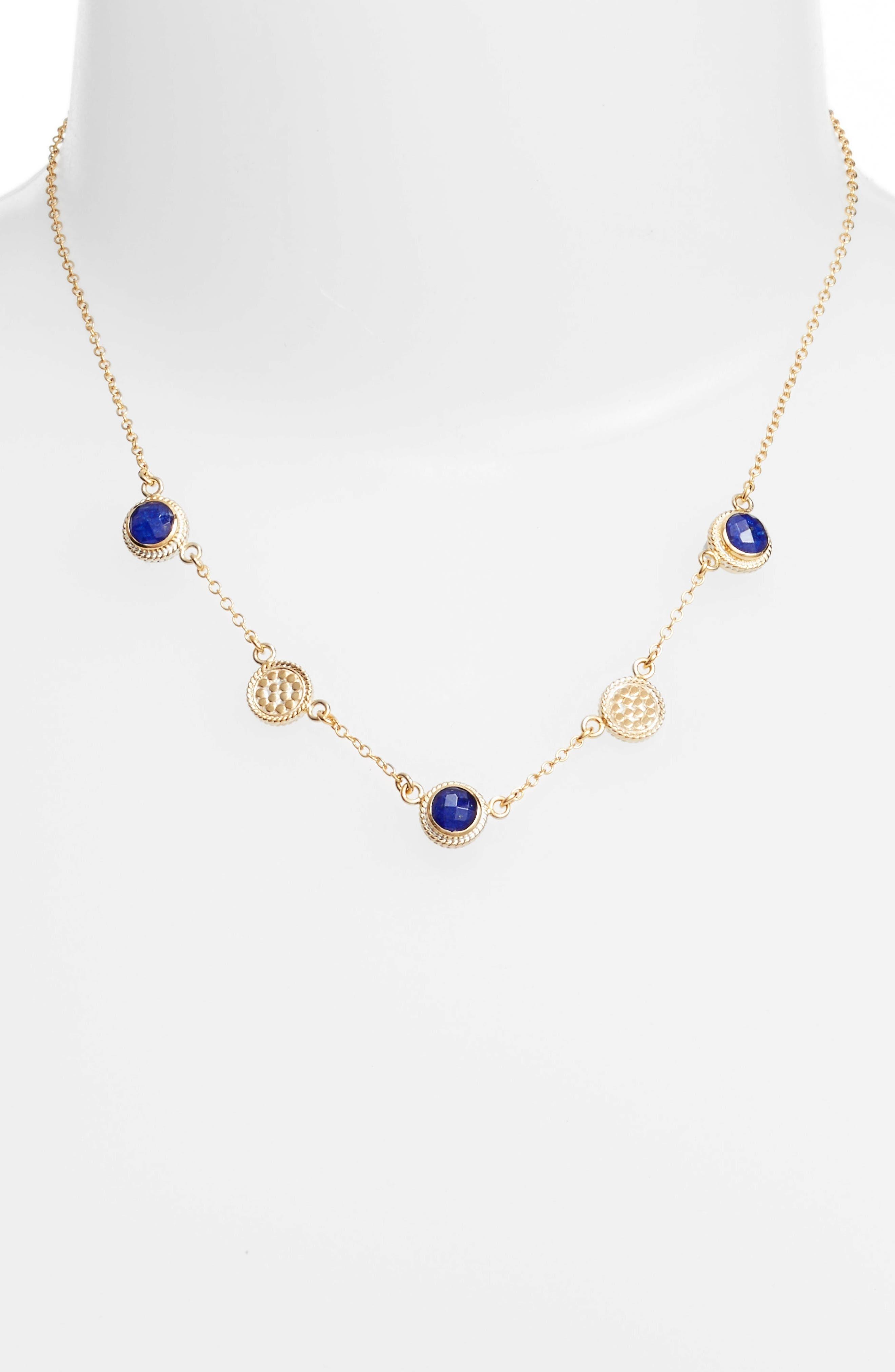 Semiprecious Stone Station Necklace,                             Alternate thumbnail 2, color,                             BLUE LAPIS