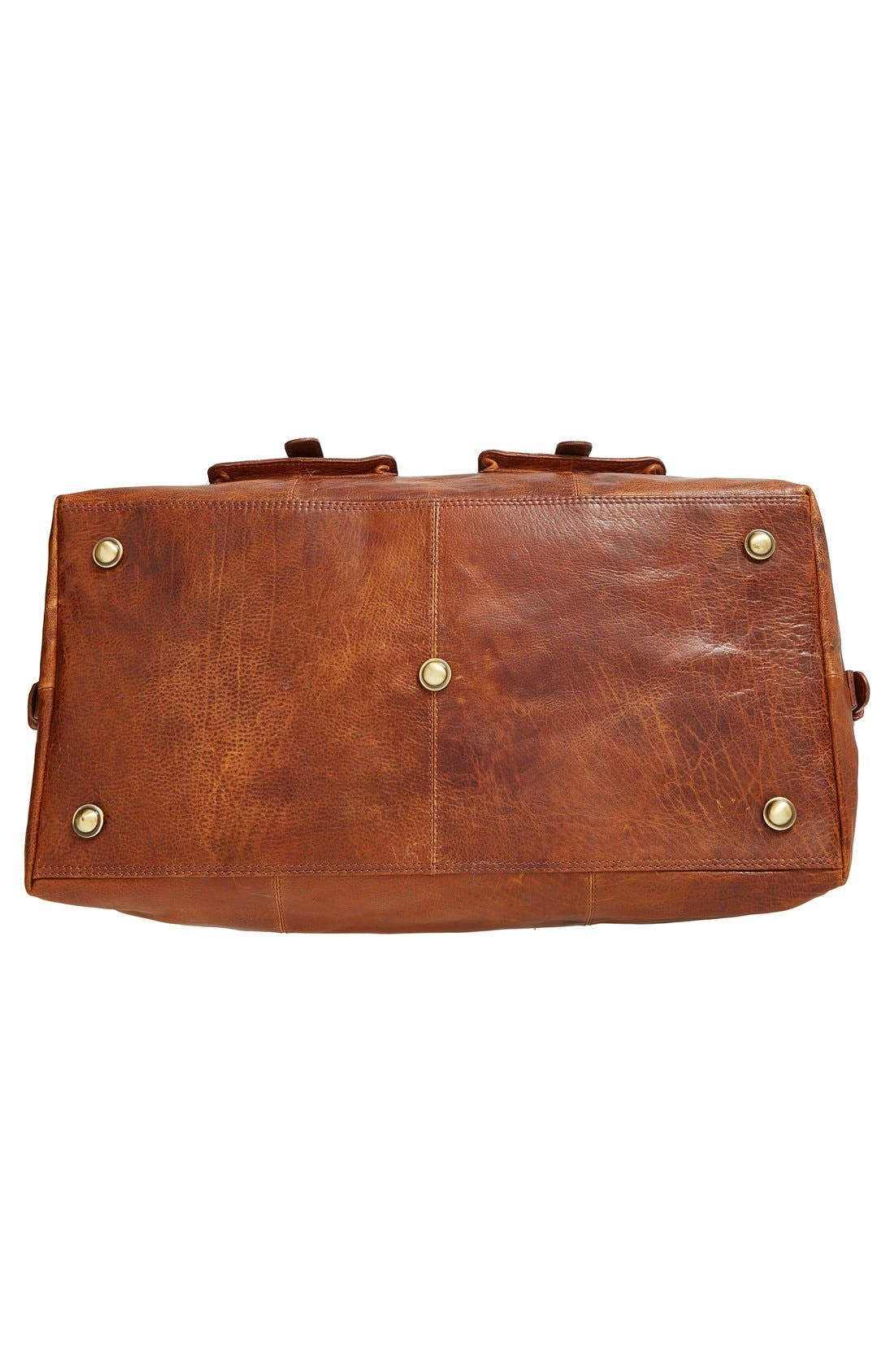 'Rugged' Leather Duffel Bag,                             Alternate thumbnail 3, color,                             COGNAC