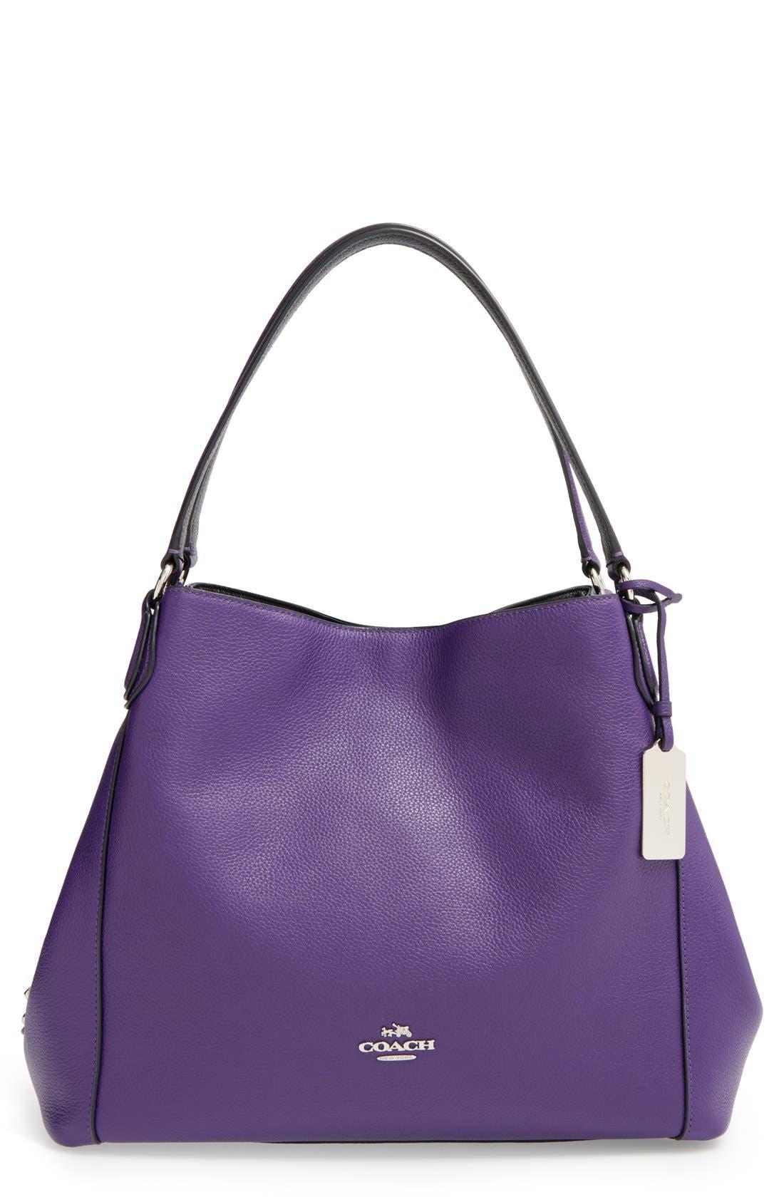 COACH 'Edie 31' Pebbled Leather Shoulder Bag, Main, color, 500