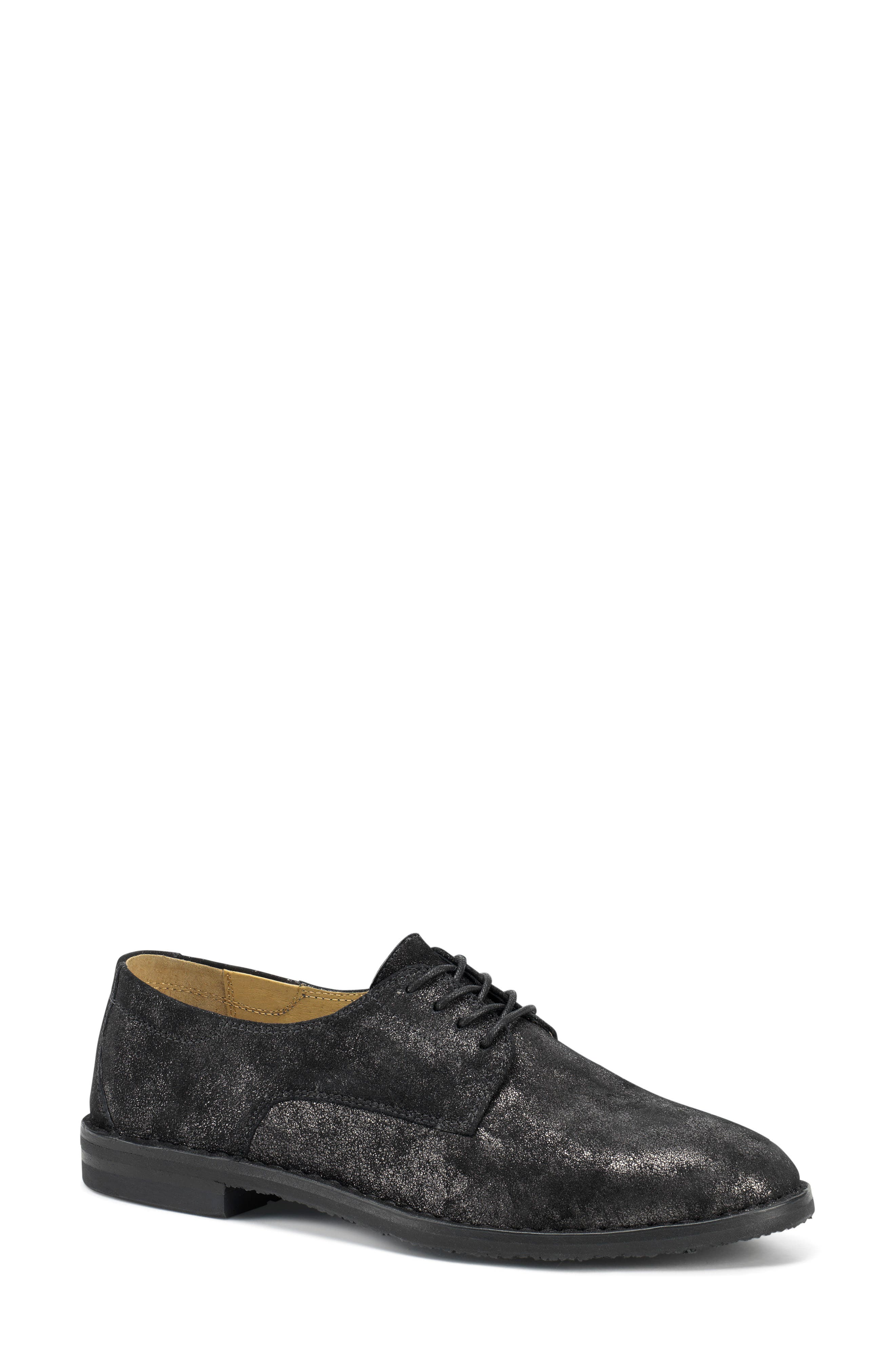 'Ana' Metallic Leather Oxford,                         Main,                         color, BLACK SUEDE